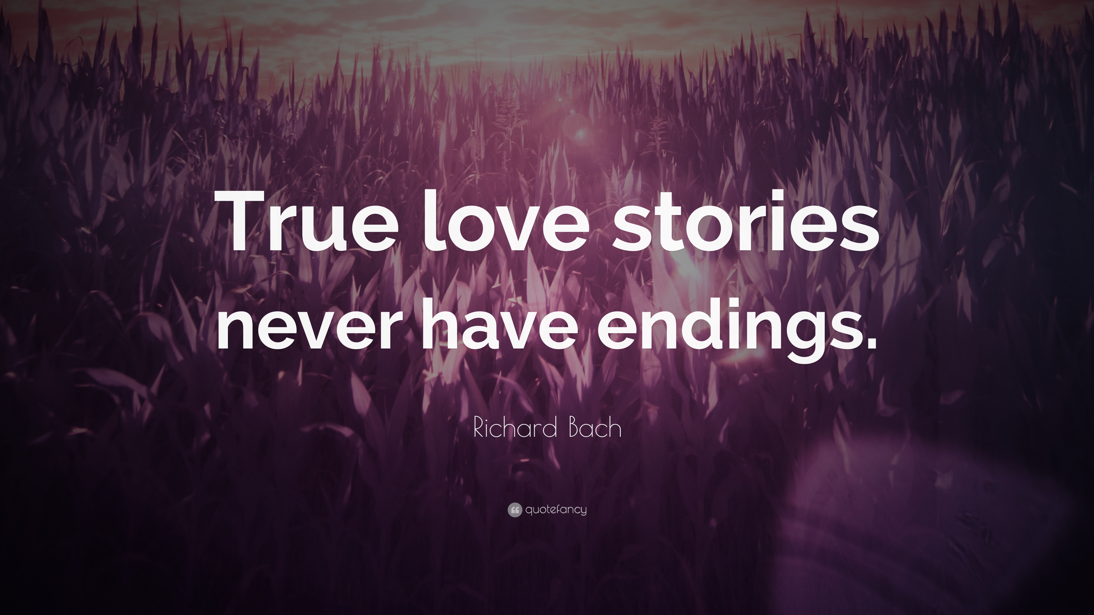 """True Love Quotes Wallpaper: Richard Bach Quote: """"True Love Stories Never Have Endings"""