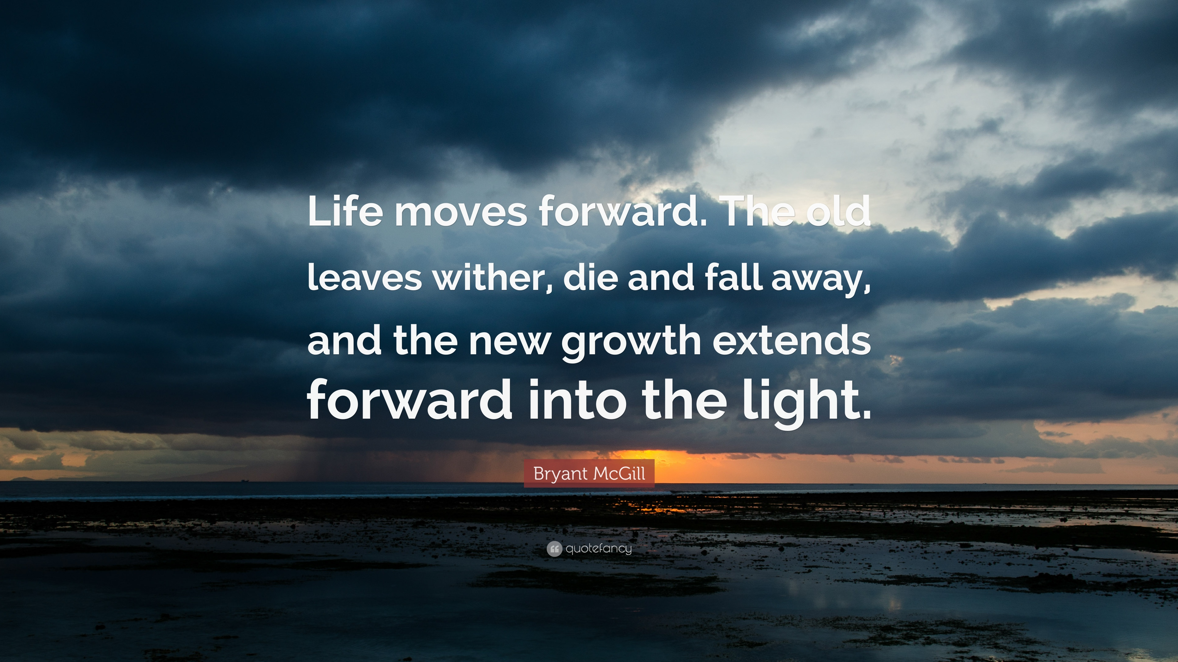 "Life Moves On Quotes Bryant Mcgill Quote ""Life Moves Forwardthe Old Leaves Wither ."