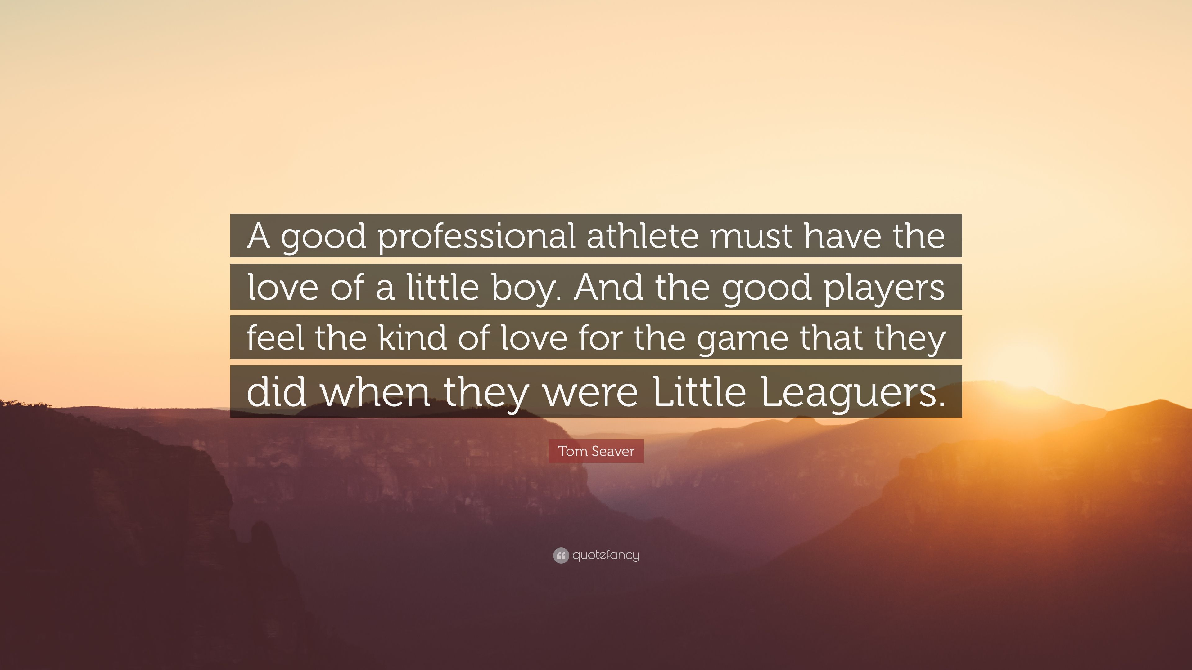 Tom Seaver Quote A Good Professional Athlete Must Have The Love Of