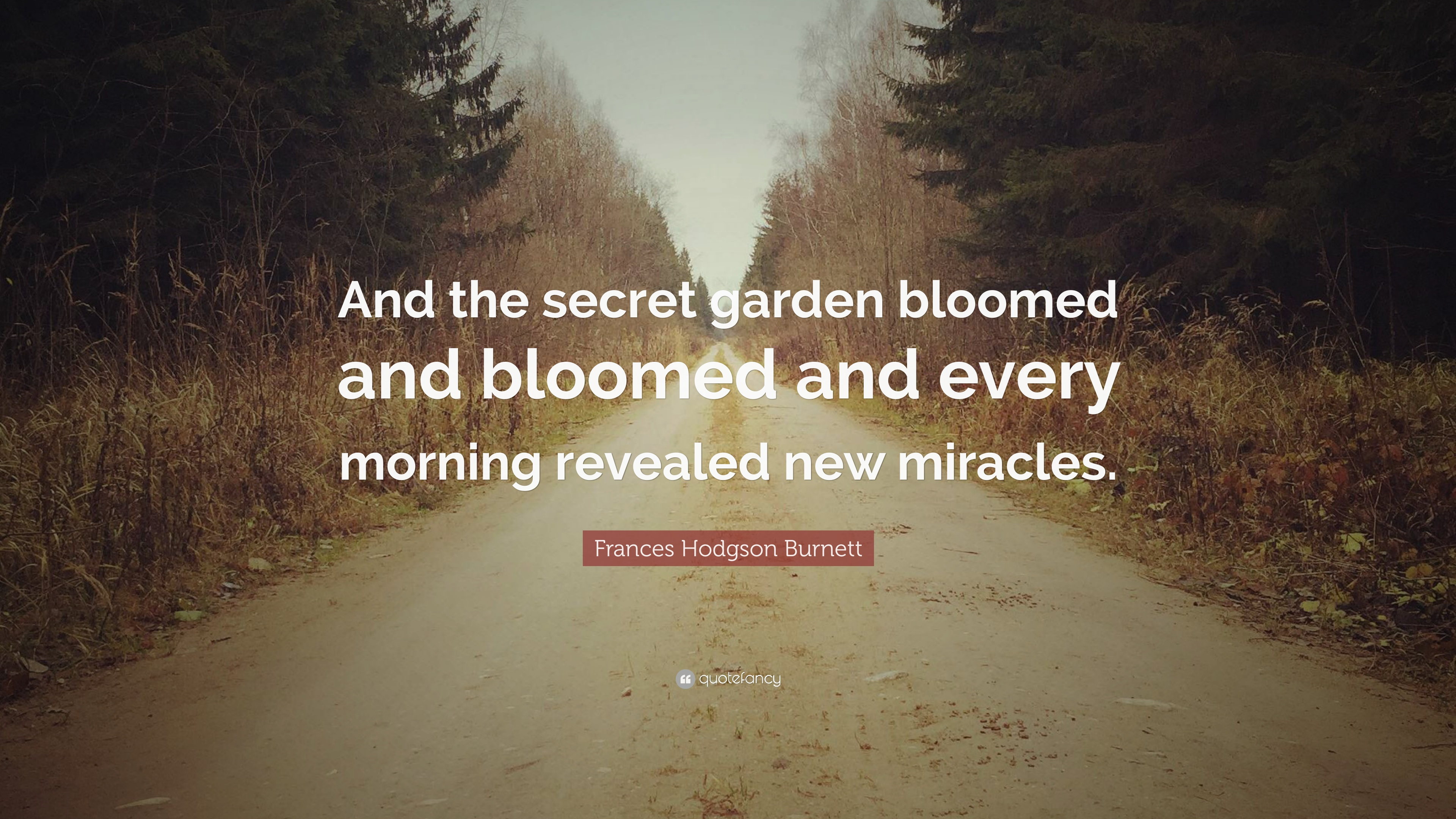 "Frances Hodgson Burnett Quote: ""And the secret garden bloomed and ..."