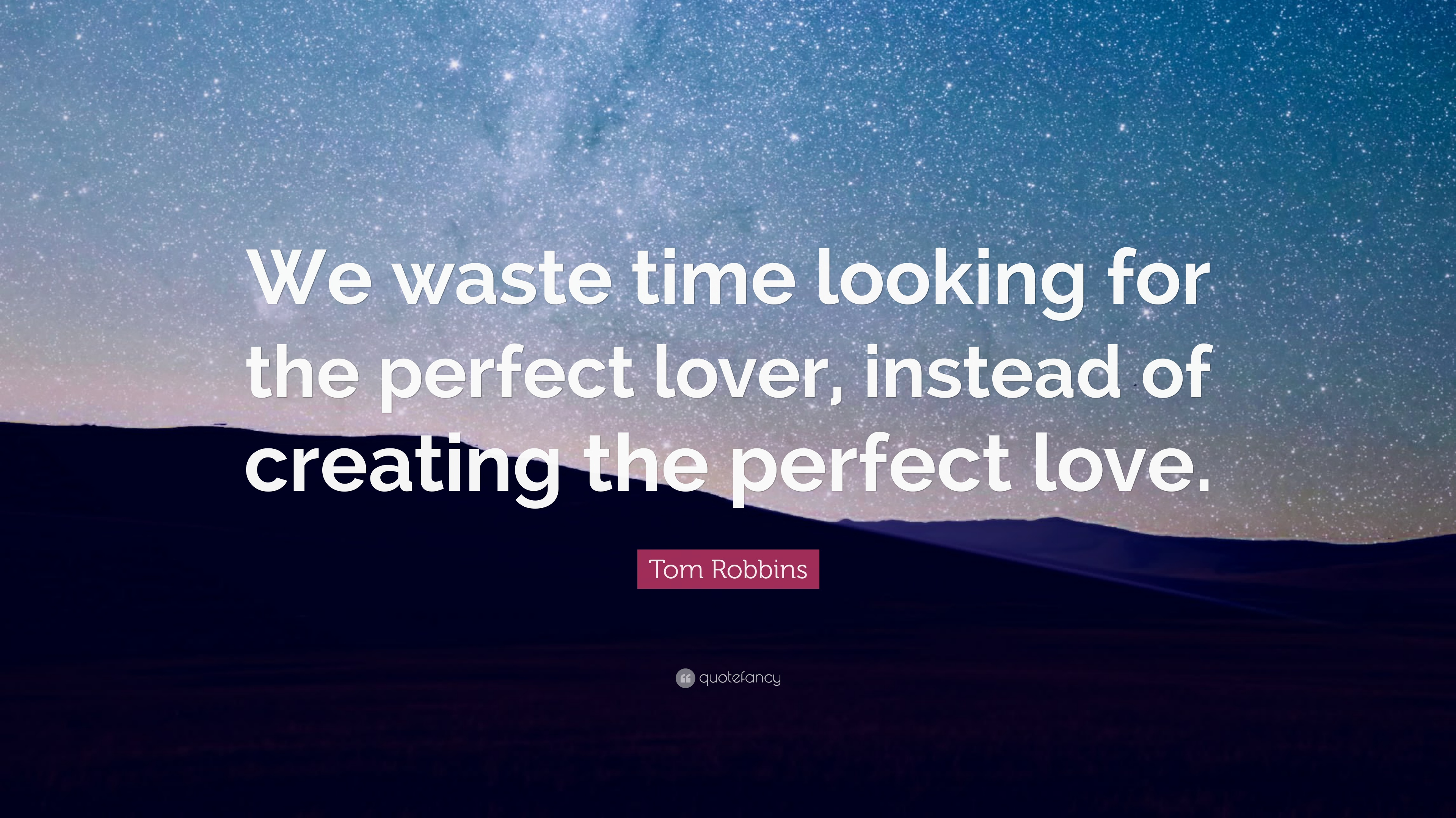 "Quote About Looking For Love Tom Robbins Quote ""We Waste Time Looking For The Perfect Lover"