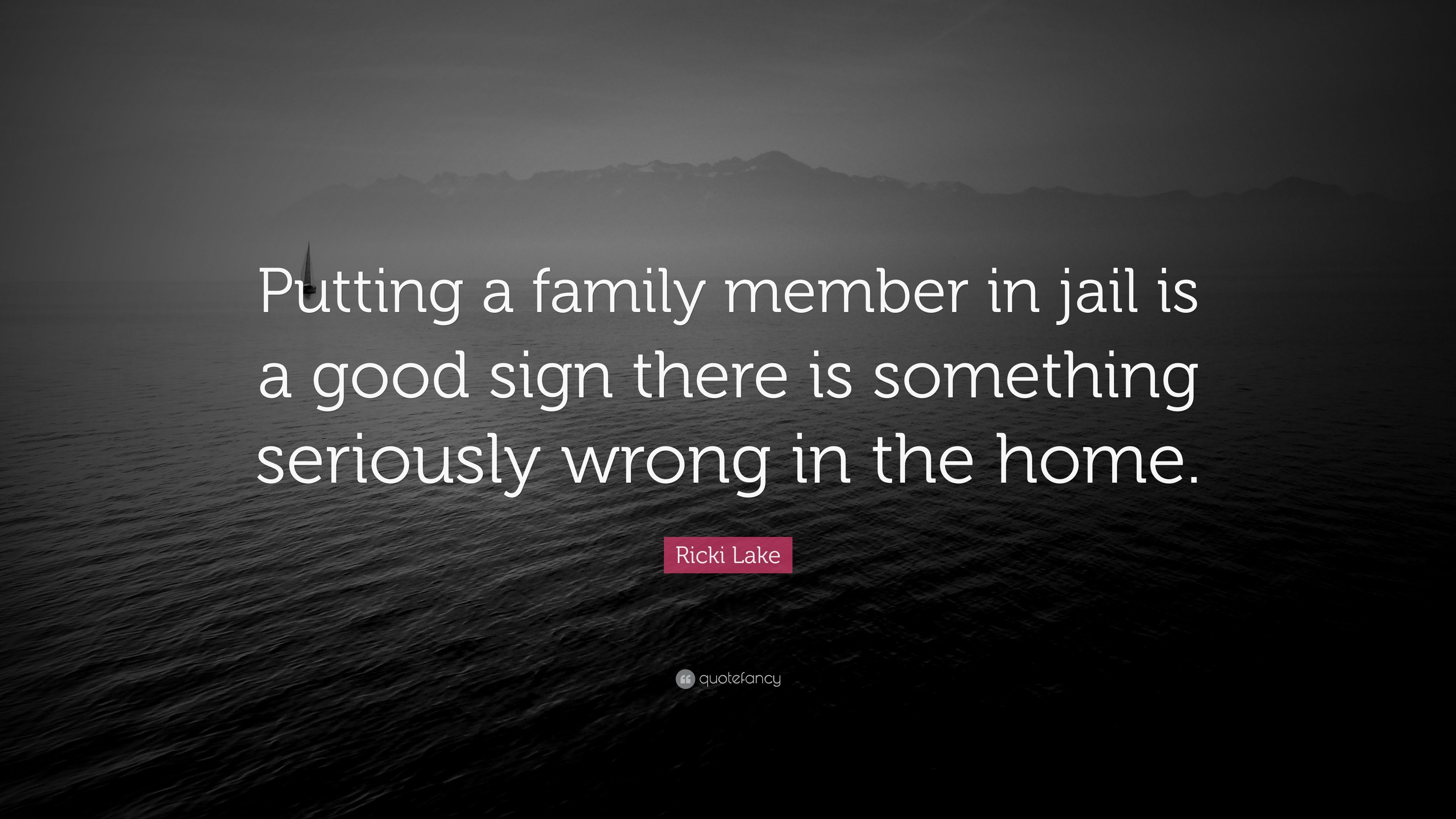 """Ricki Lake Quote: """"Putting a family member in jail is a good"""