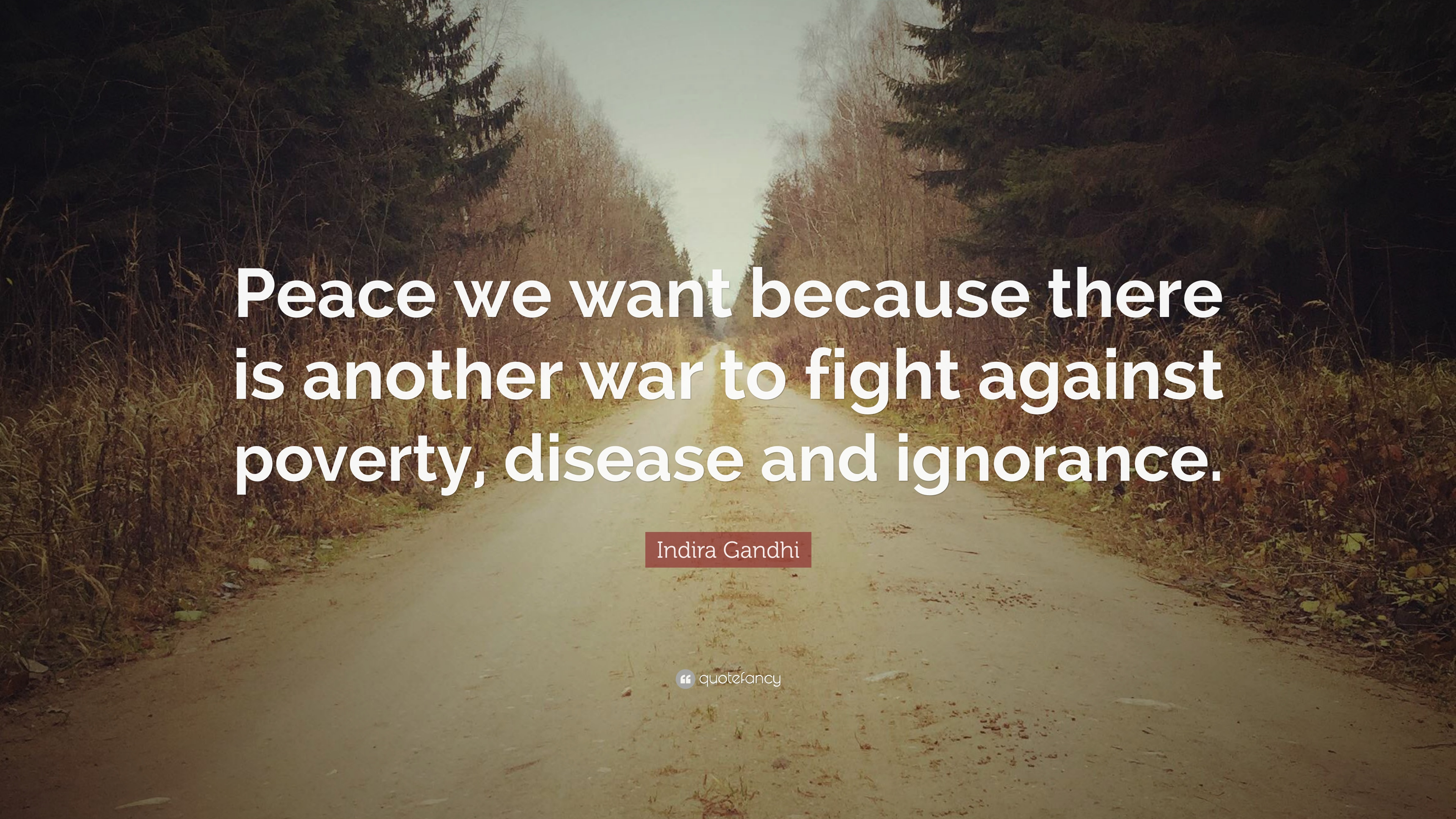 Indira Gandhi Quote Peace We Want Because There Is Another War To