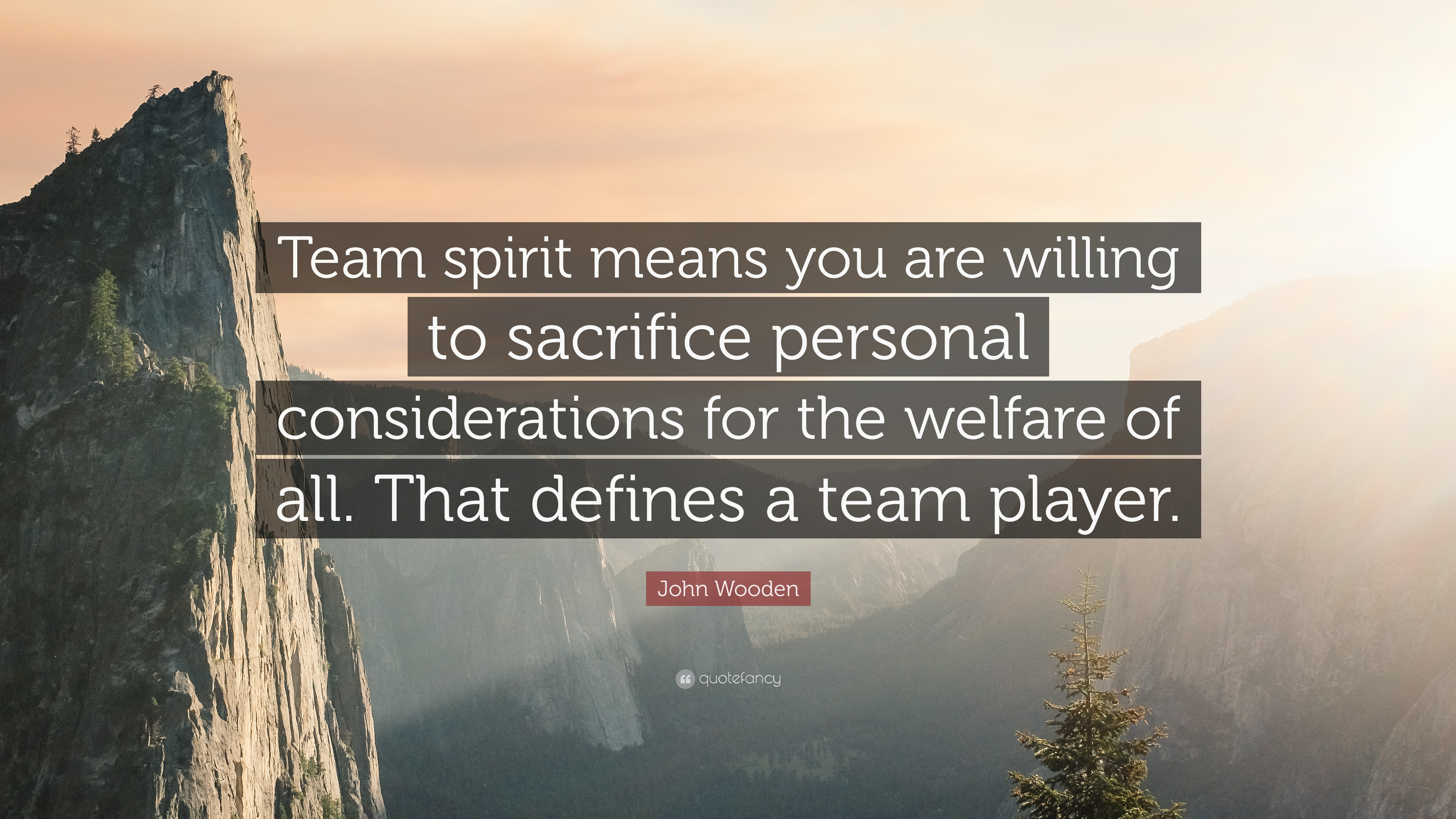 "John Wooden Quote: ""Team spirit means you are willing to sacrifice ..."