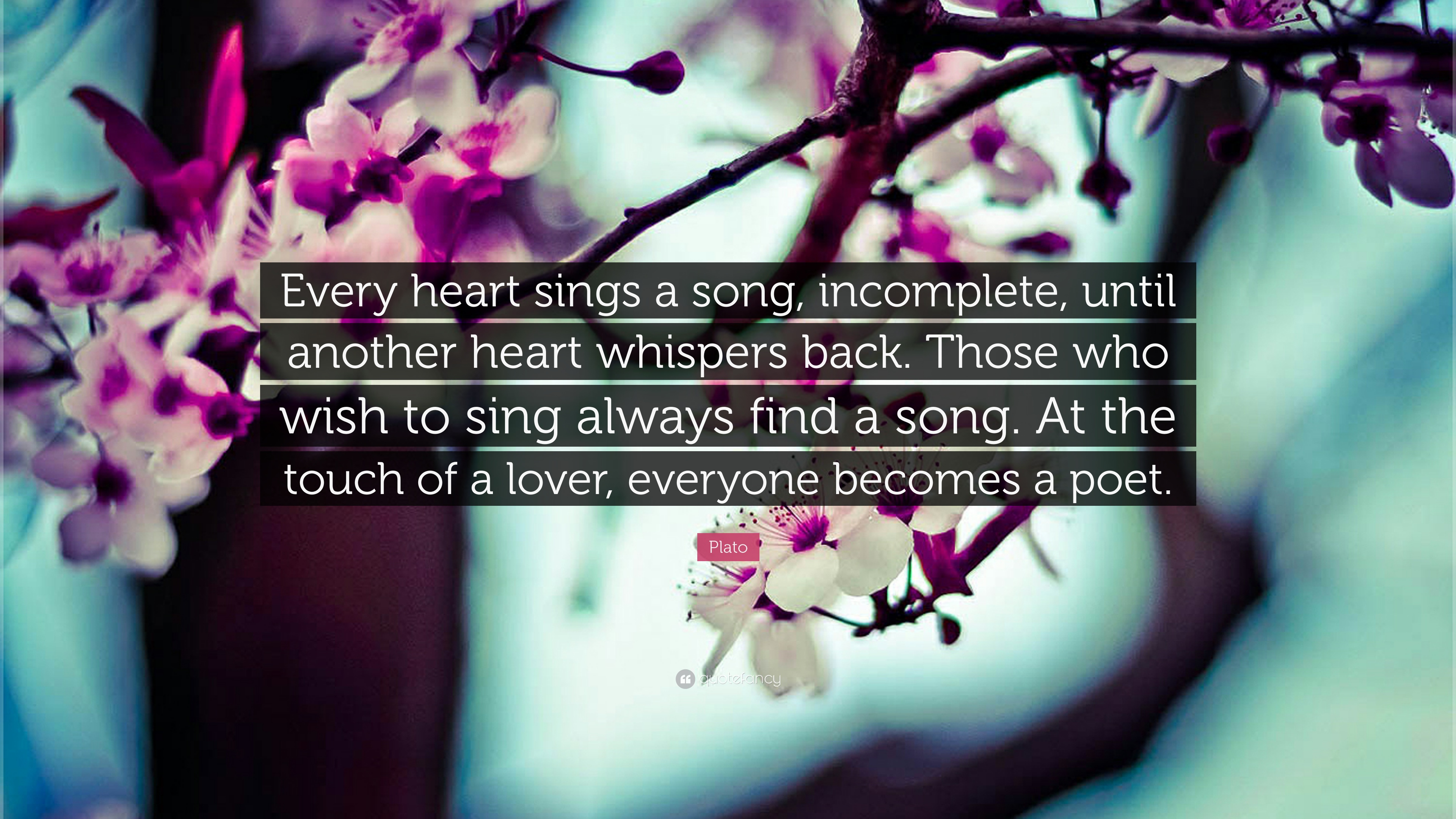 Plato Quote: U201cEvery Heart Sings A Song, Incomplete, Until Another Heart  Whispers