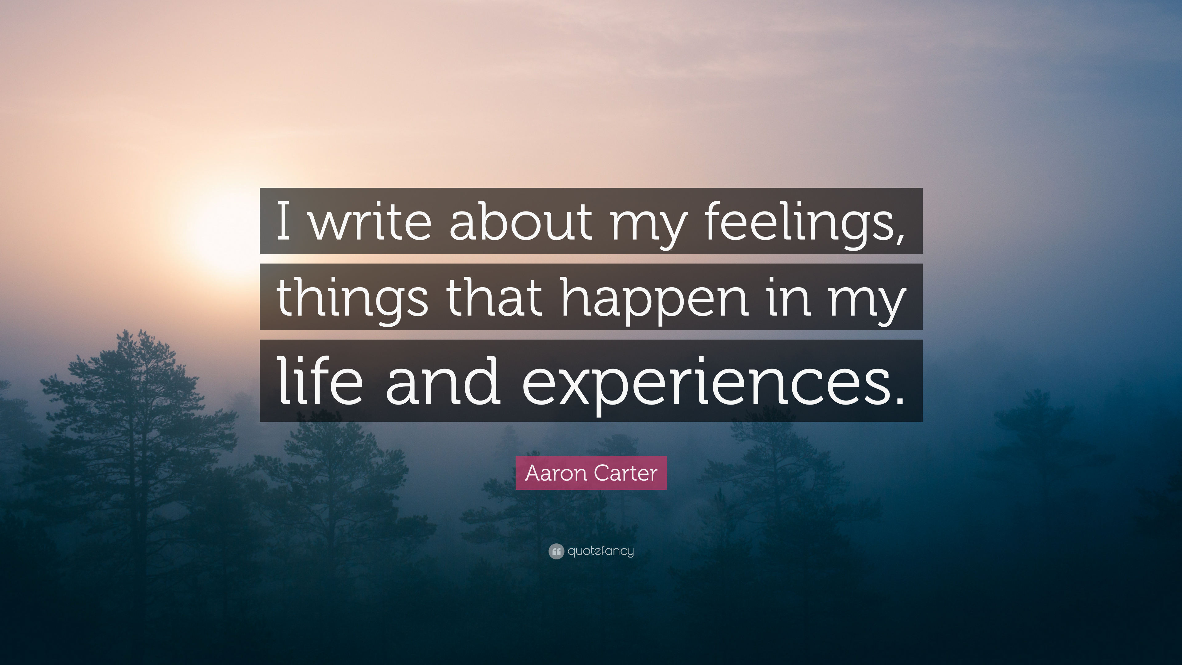 """Aaron Carter Quote: """"I write about my feelings, things that ..."""