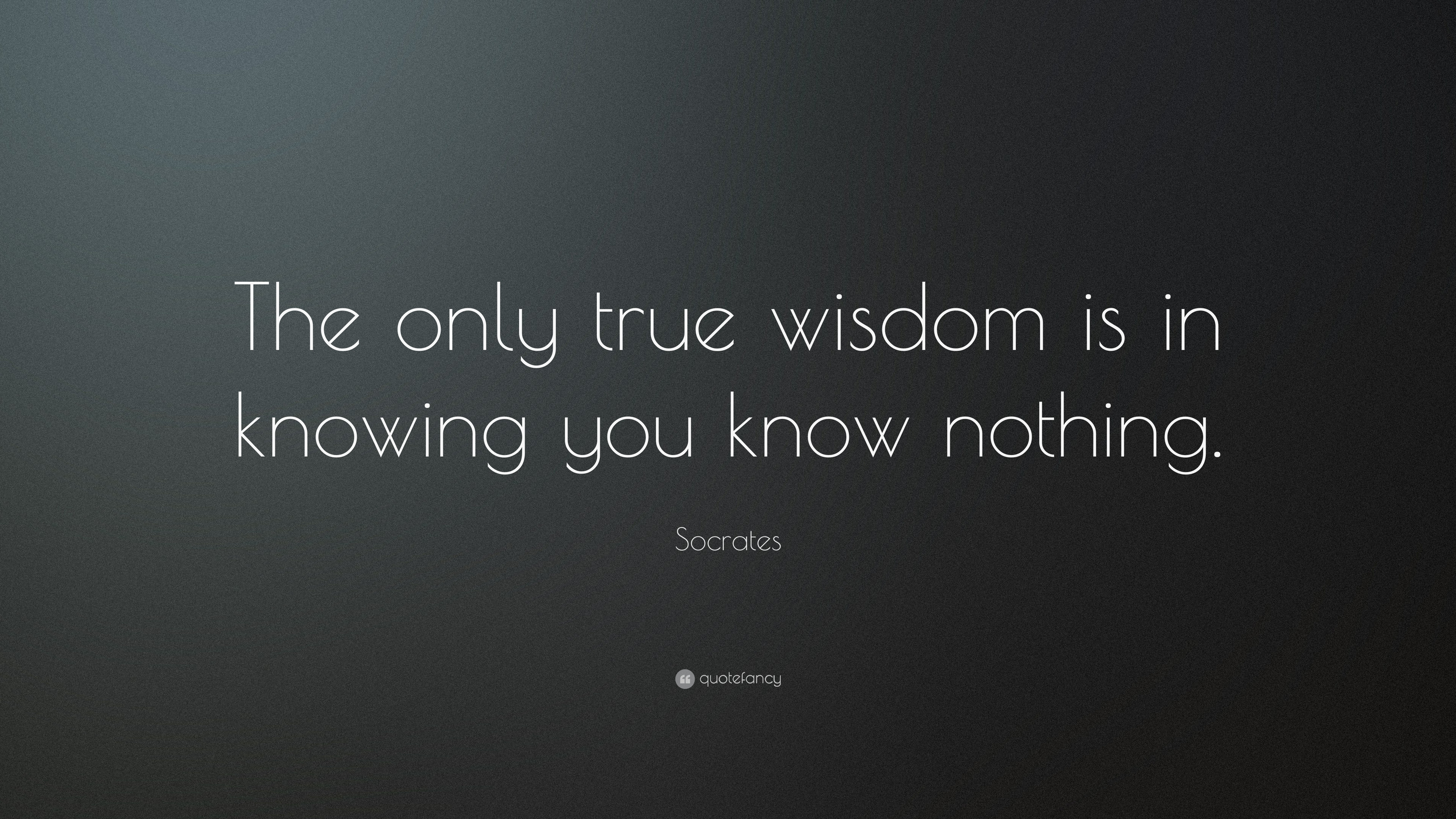Socrates Quote The Only True Wisdom Is In Knowing You Know Nothing