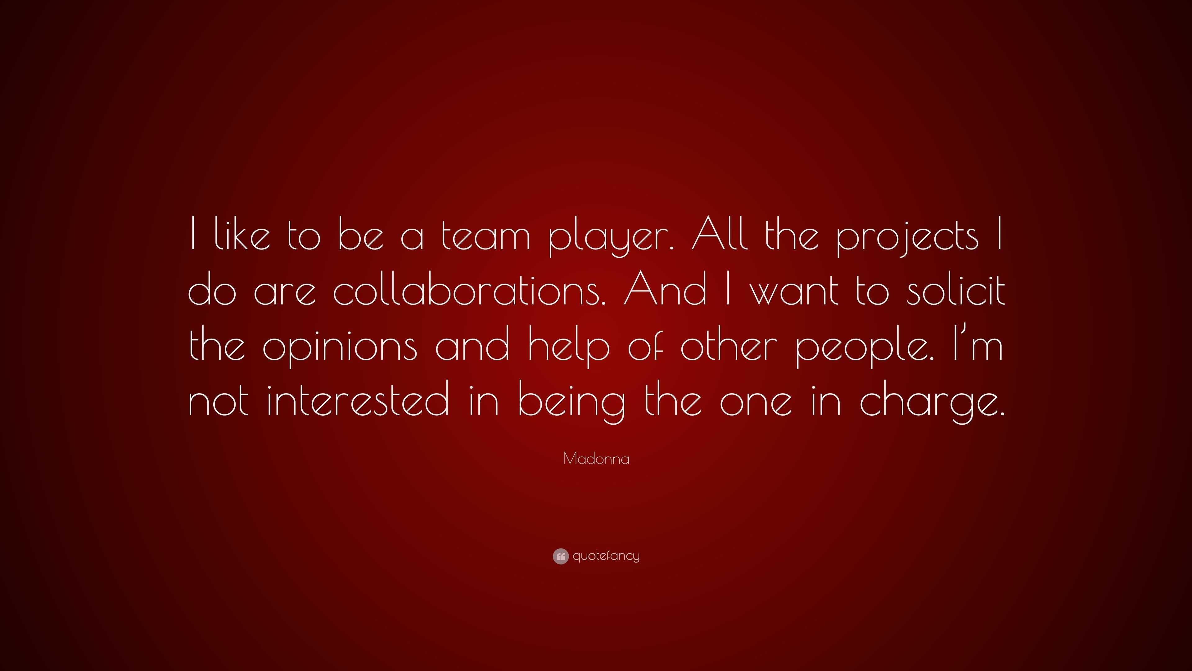 being a team player