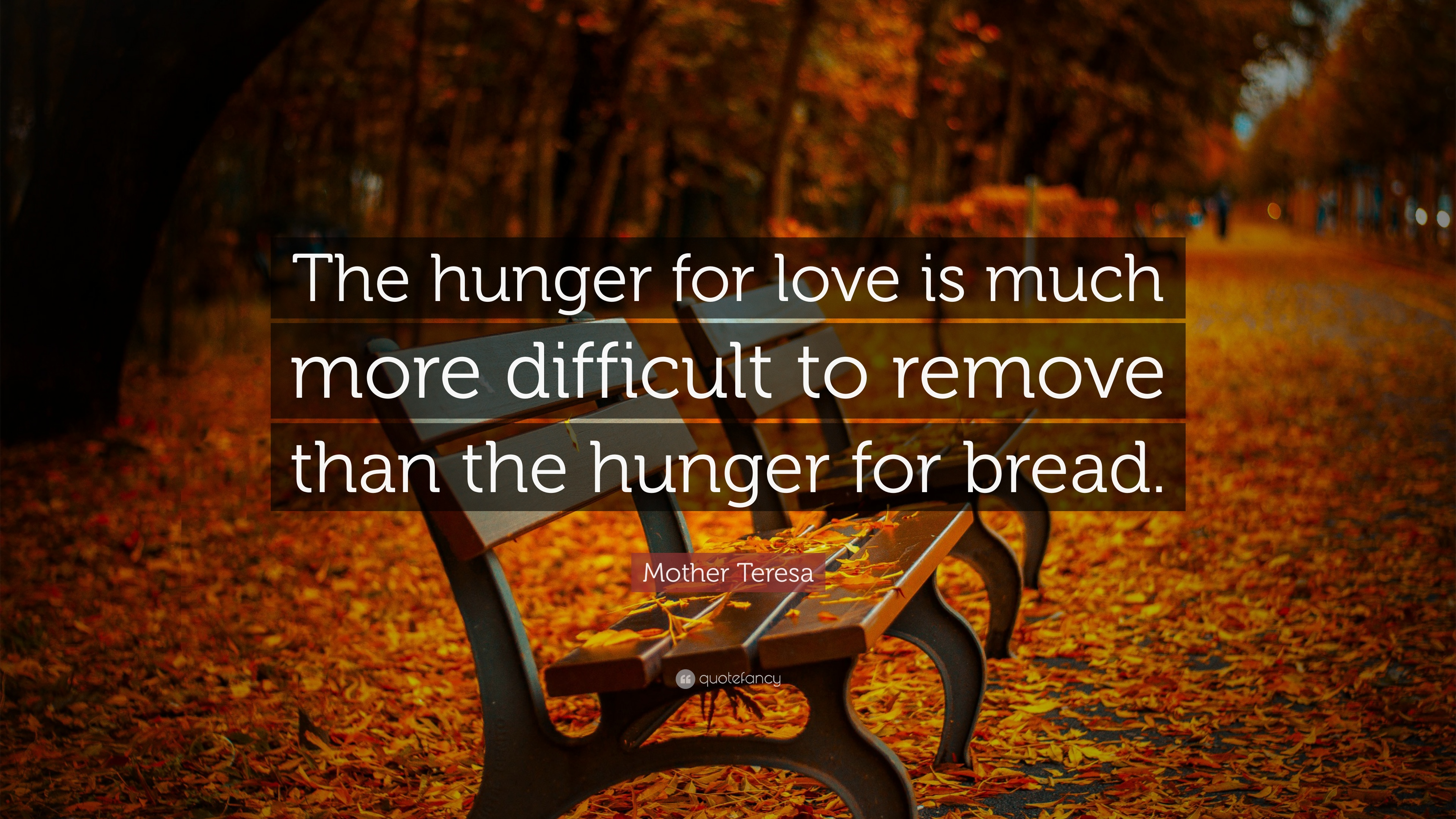 Mother teresa quote the hunger for love is much more for How hard is it to remove wallpaper