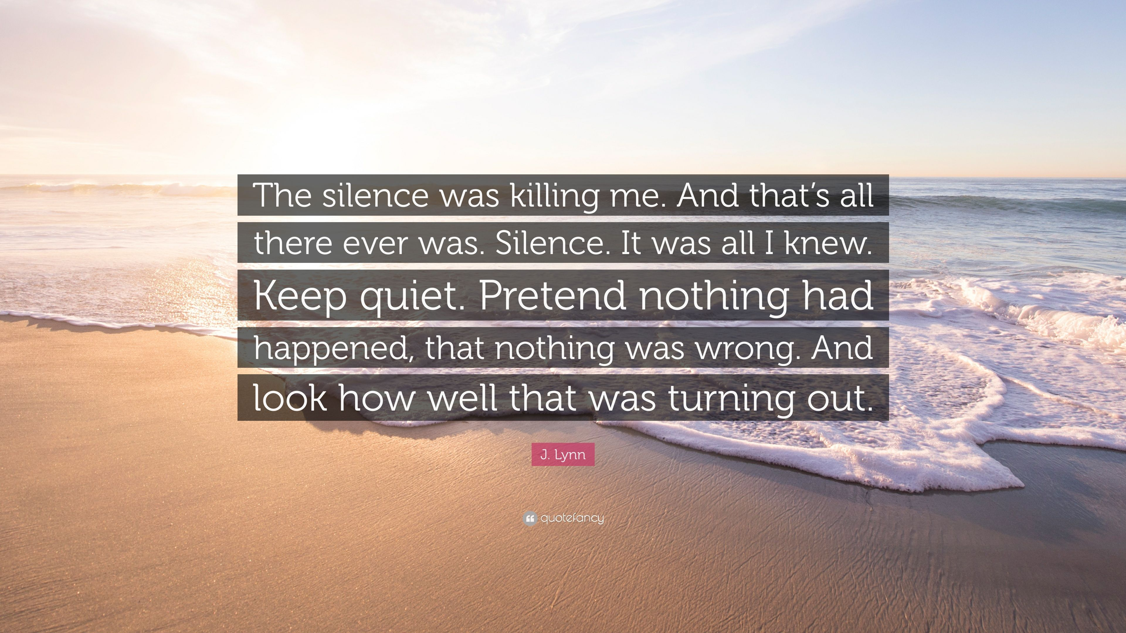 "J  Lynn Quote: ""The silence was killing me  And that's all there"