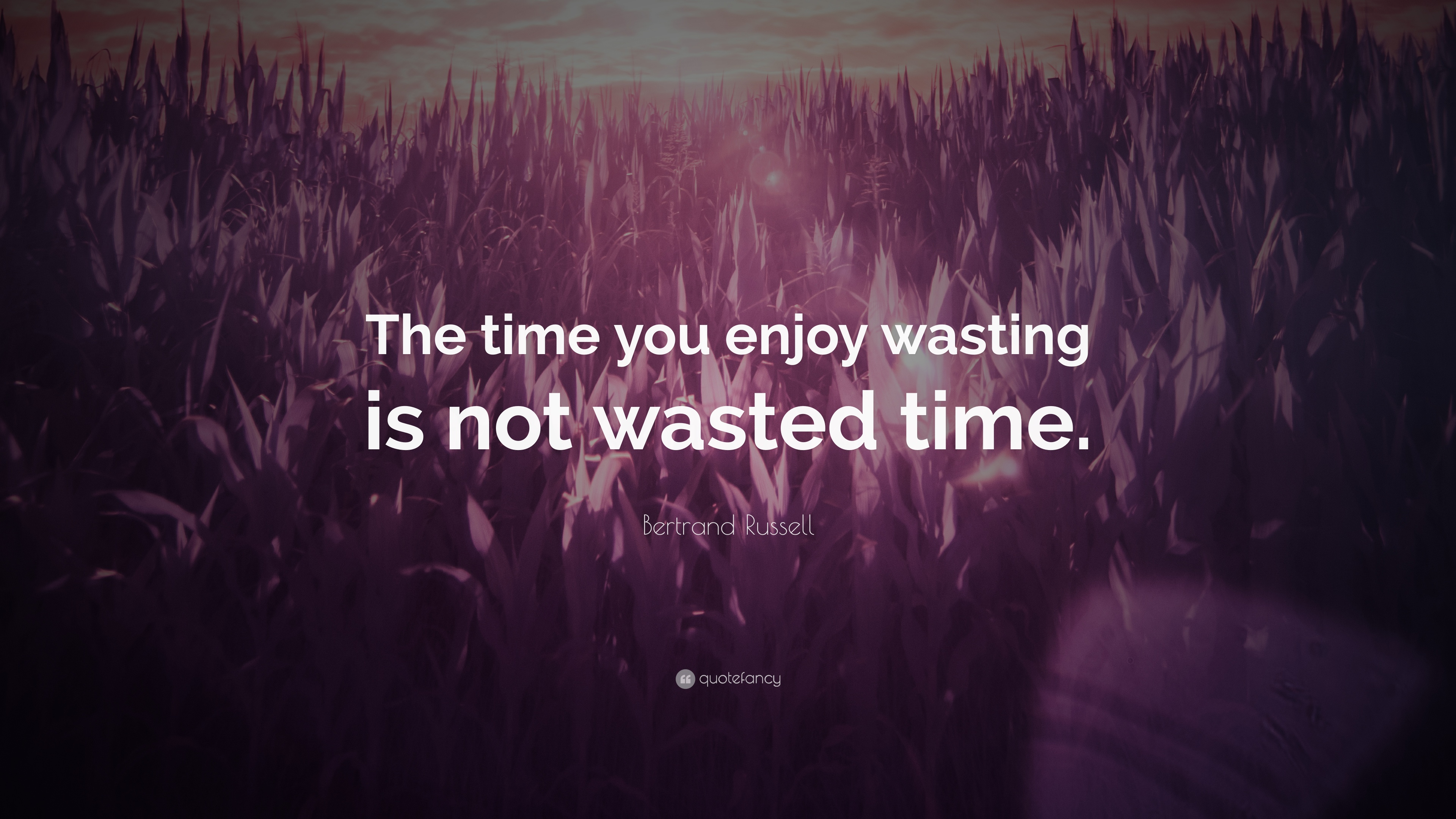 Bertrand Russell Quote The Time You Enjoy Wasting Is Not Wasted