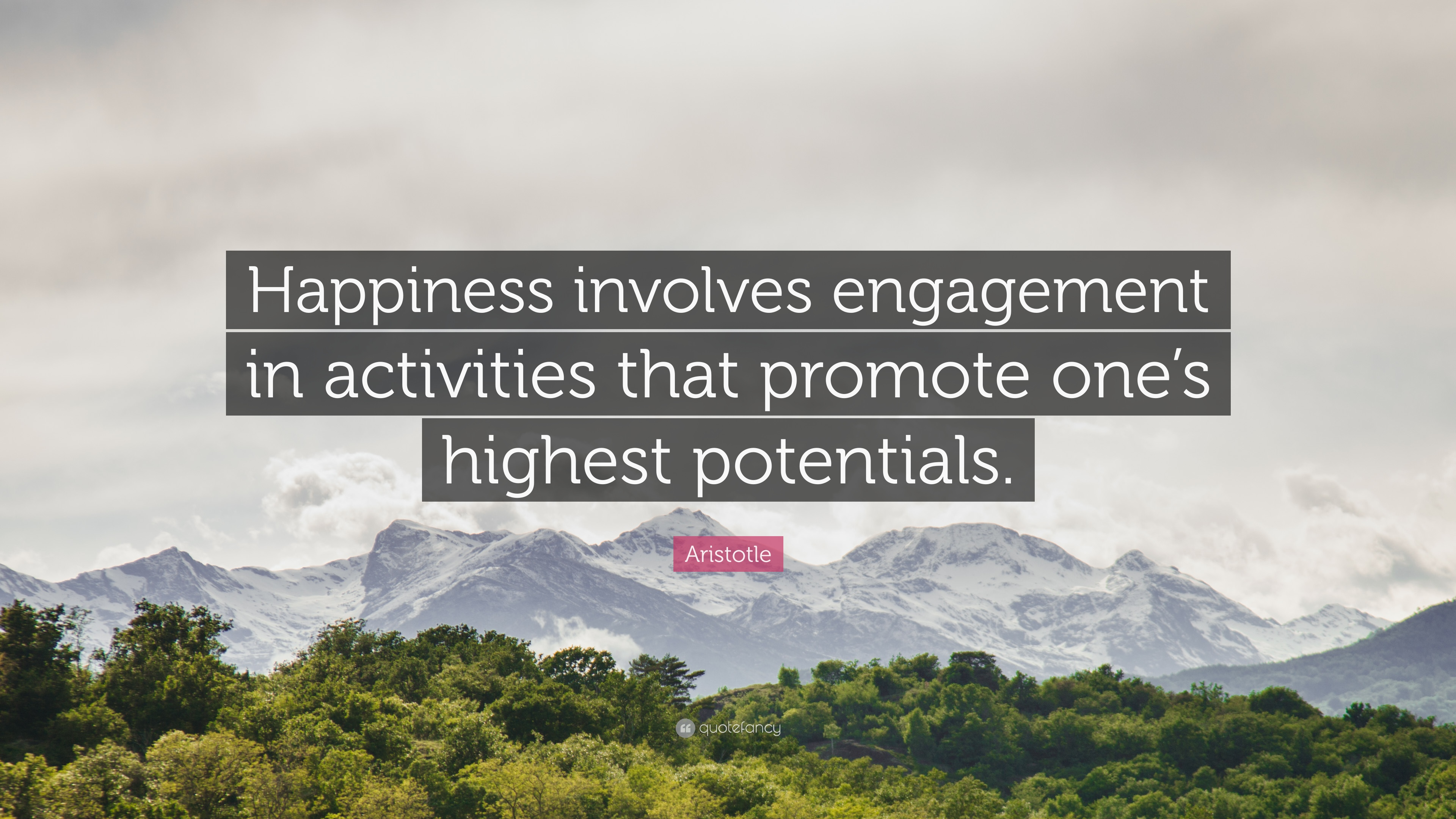 Aristotle quote happiness involves engagement in activities that promote ones highest potentials