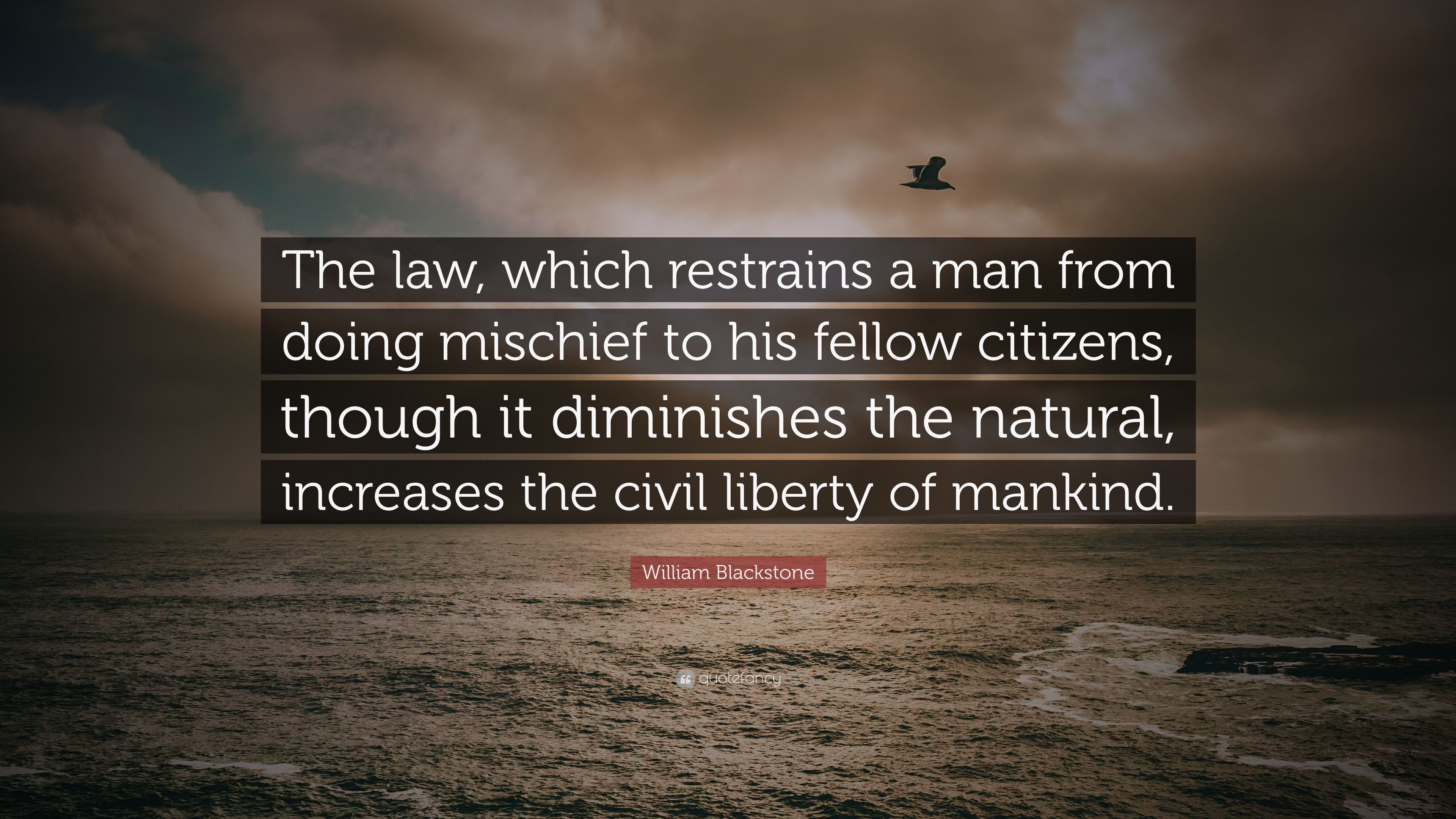 "William Blackstone Quote: ""The law, which restrains a man from doing"