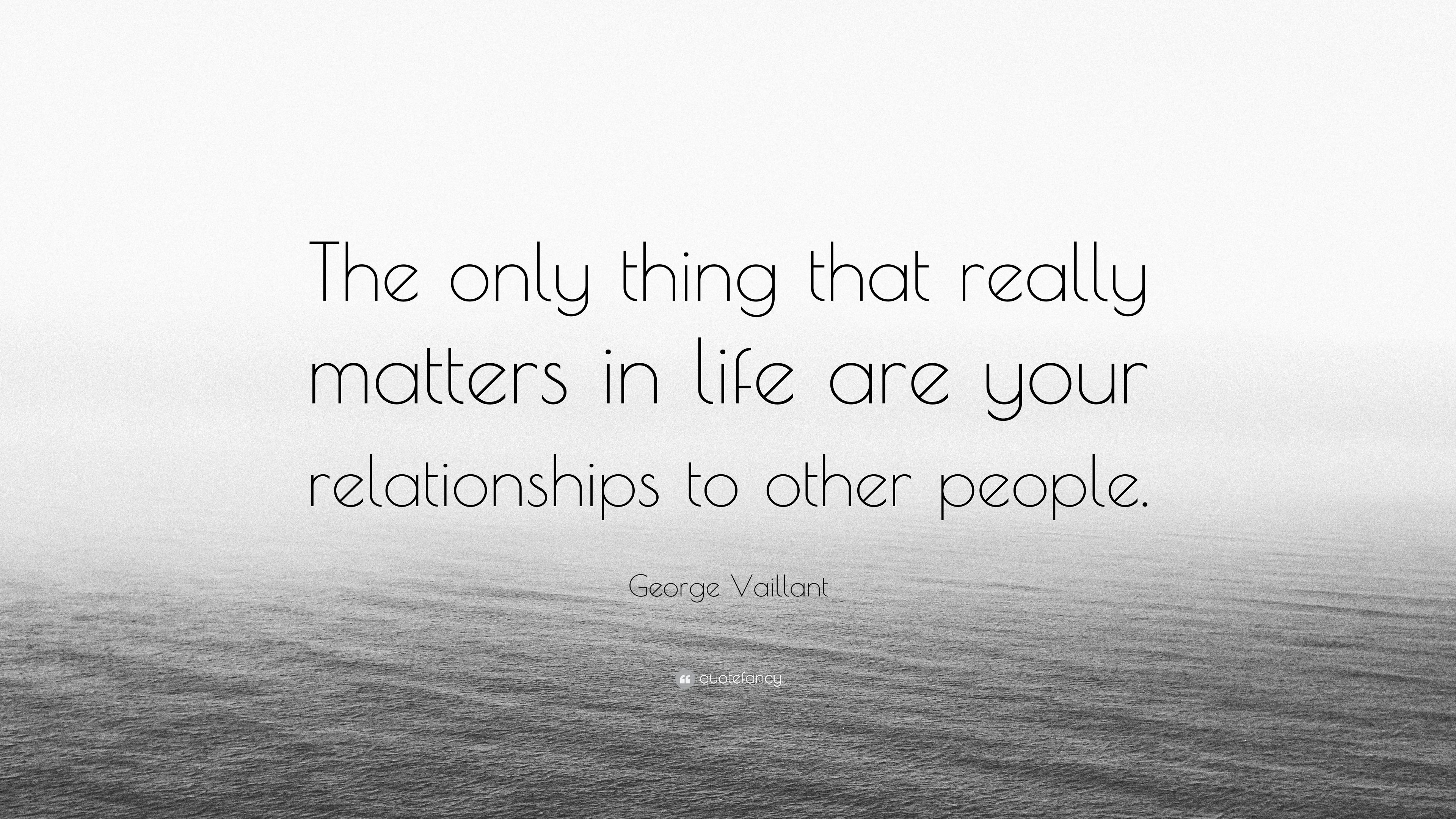 "What Really Matters In Life Quotes Brilliant George Vaillant Quote ""The Only Thing That Really Matters In Life"