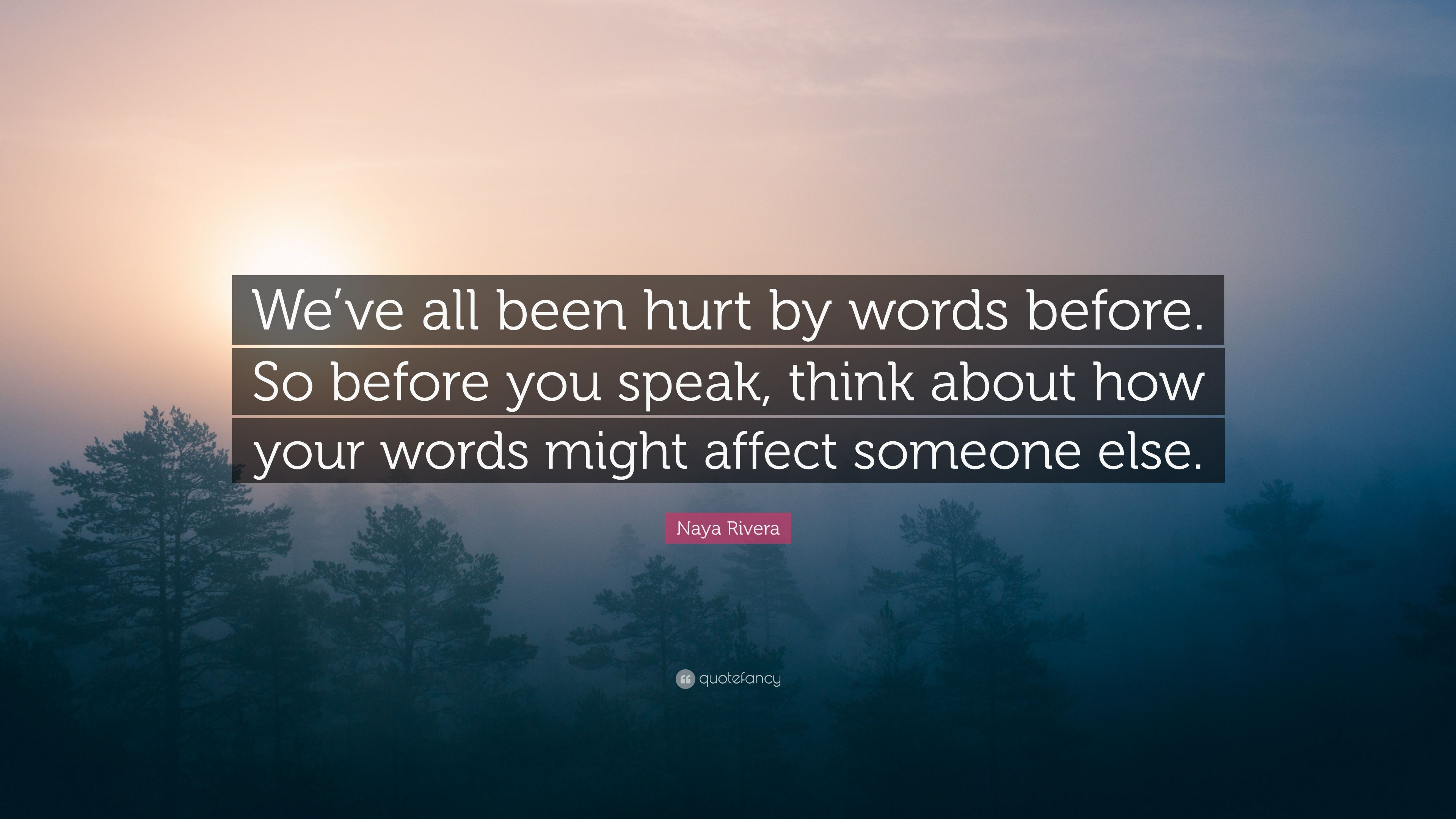 Naya Rivera Quote Weve All Been Hurt By Words Before So Before