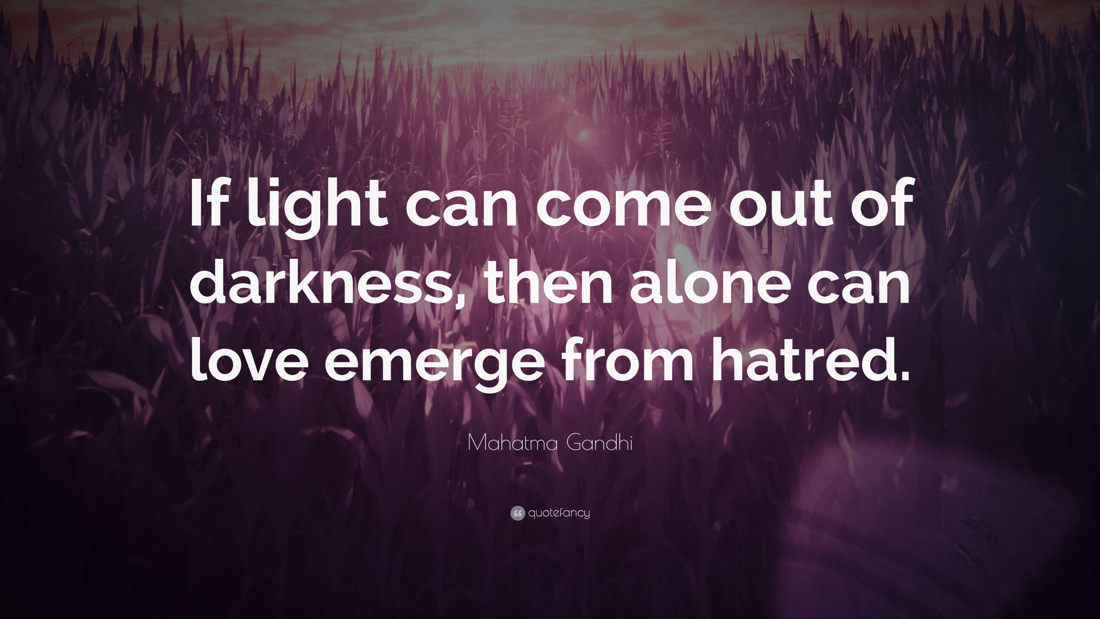 """Mahatma Gandhi Quotes On Love Mahatma Gandhi Quote """"If Light Can Come Out Of Darkness Then"""