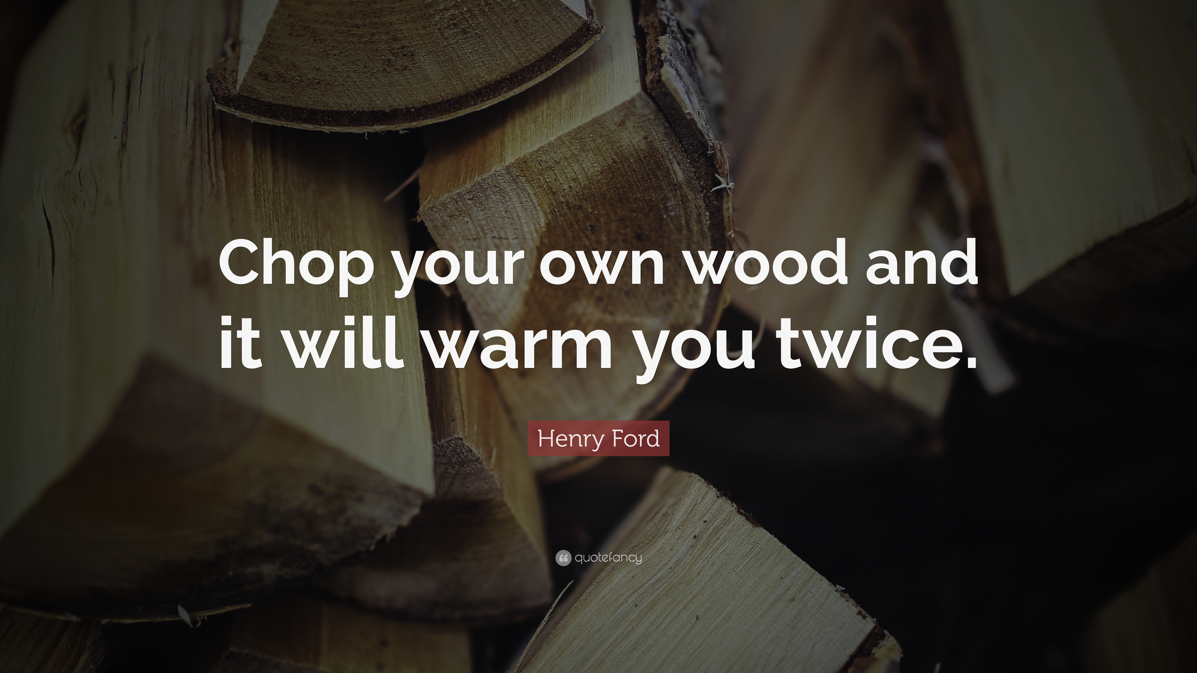 "Ford Quote Henry Ford Quote ""Chop Your Own Wood And It Will Warm You Twice"