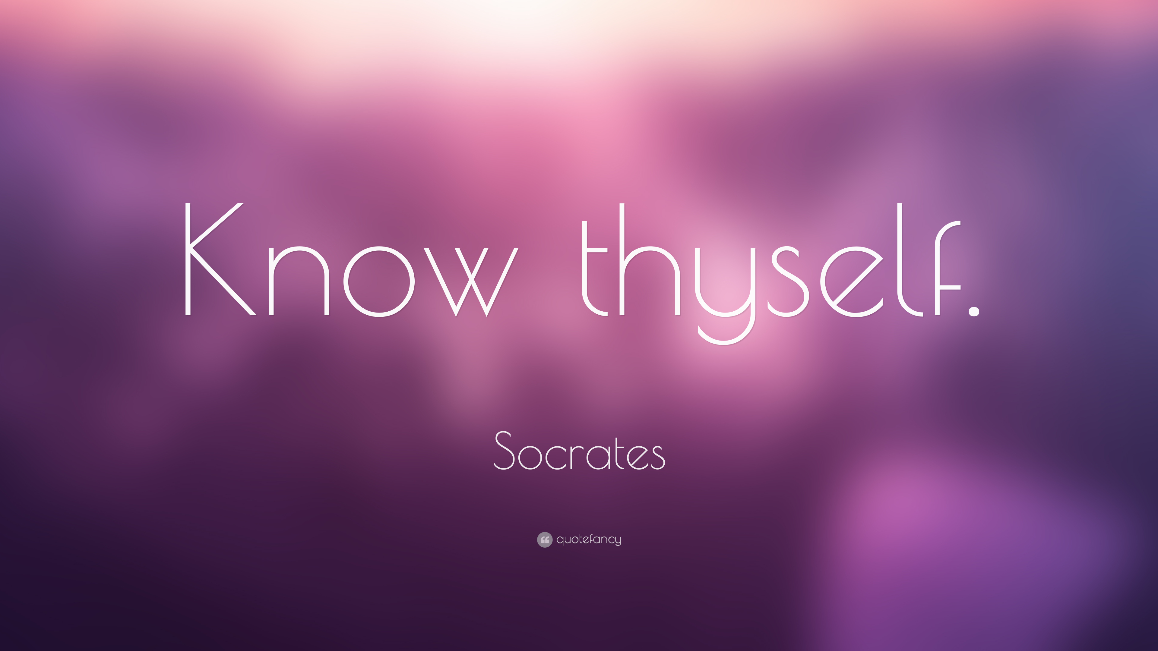 socrates know thyself Know thyself: gnōthi seauton: these two words were inscribed in the vestibule of the temple of apollo in delphi they were the reason that socrates disputed the declaration of the oracle when she had named him as the wisest person on earth.