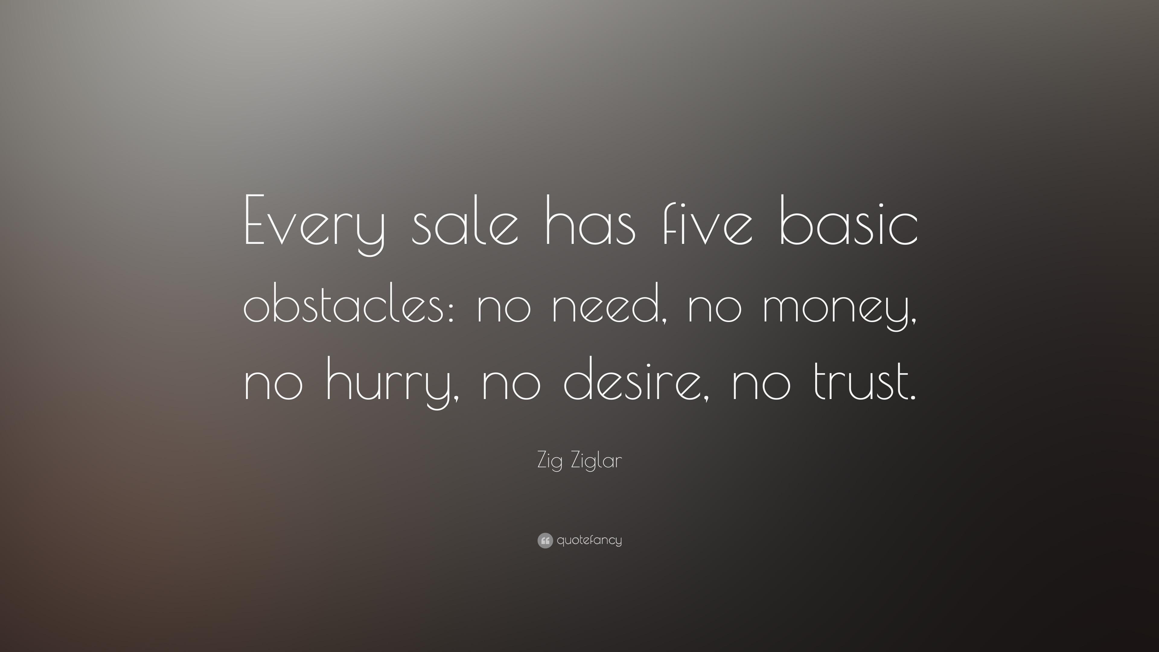 "Zig Ziglar Quote: ""Every Sale Has Five Basic Obstacles: No"