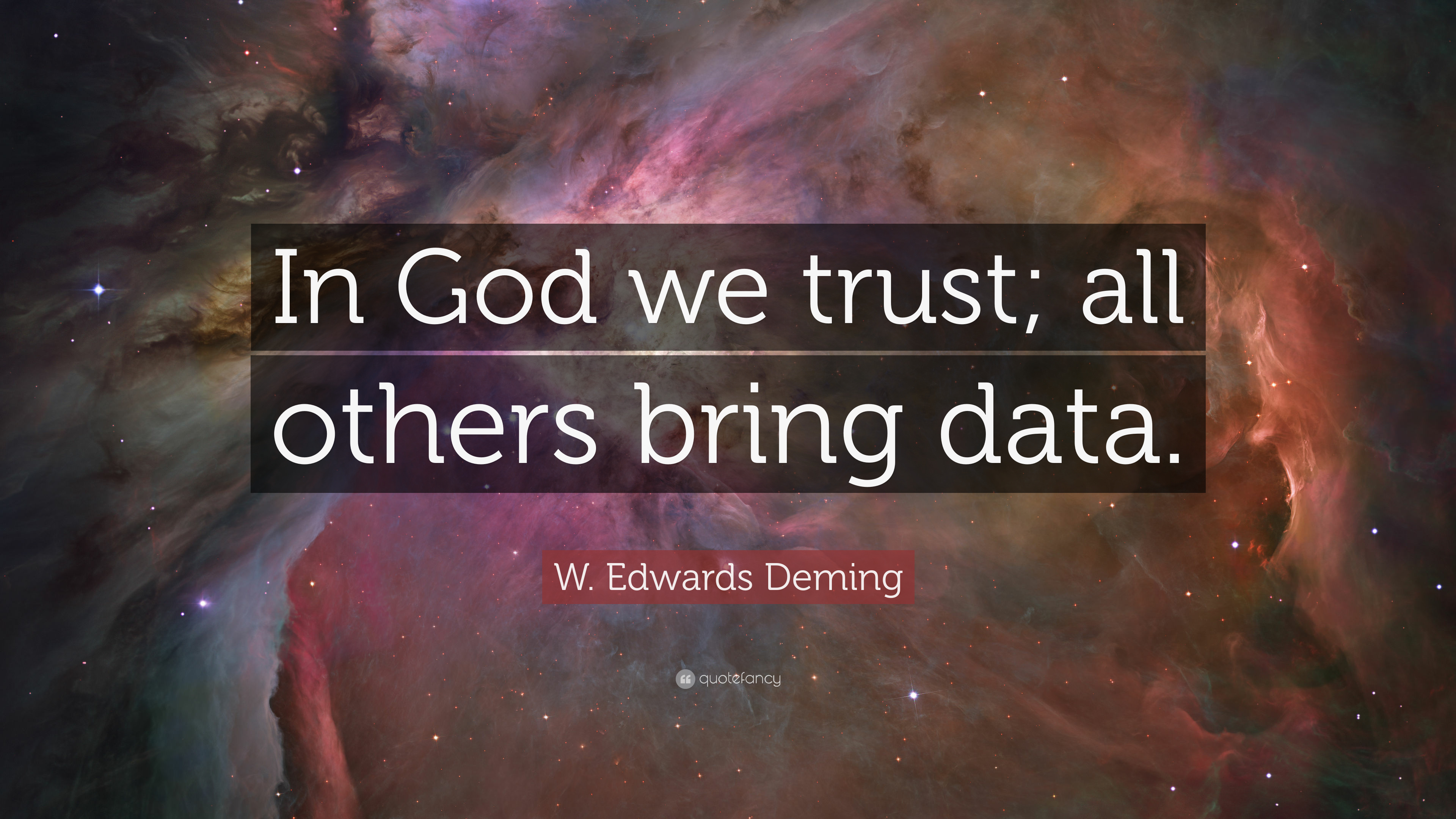 W Edwards Deming Quote In God We Trust All Others Bring Data