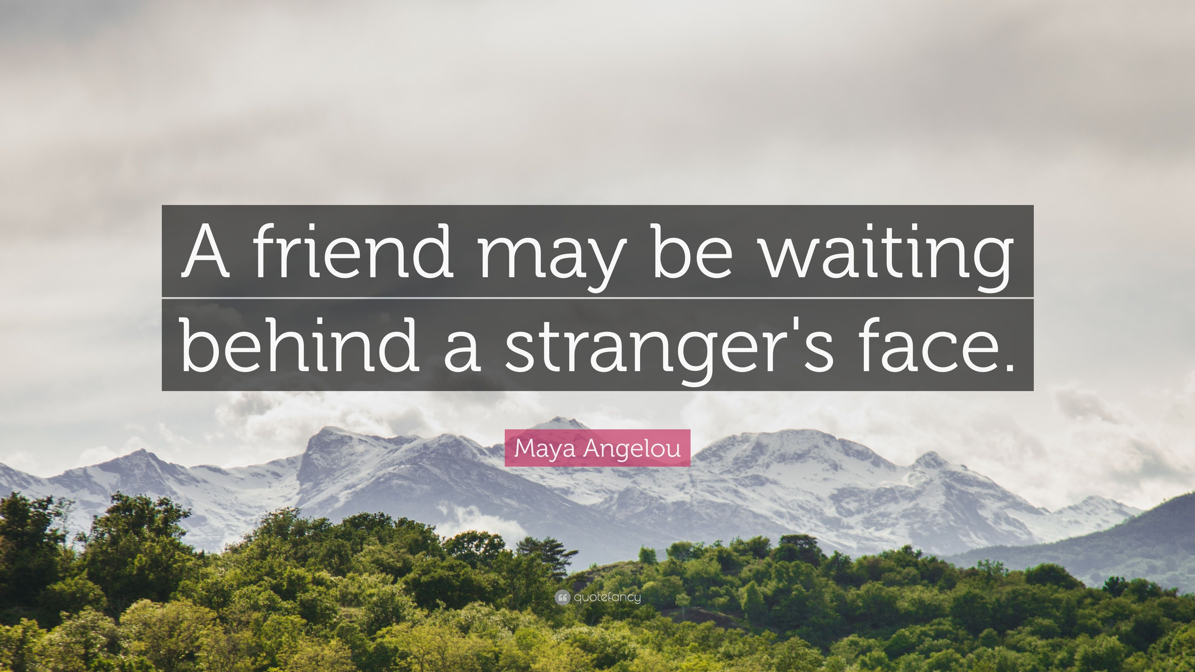 "Maya Angelou Quotes About Friendship Maya Angelou Quote ""A Friend May Be Waiting Behind A Stranger's"