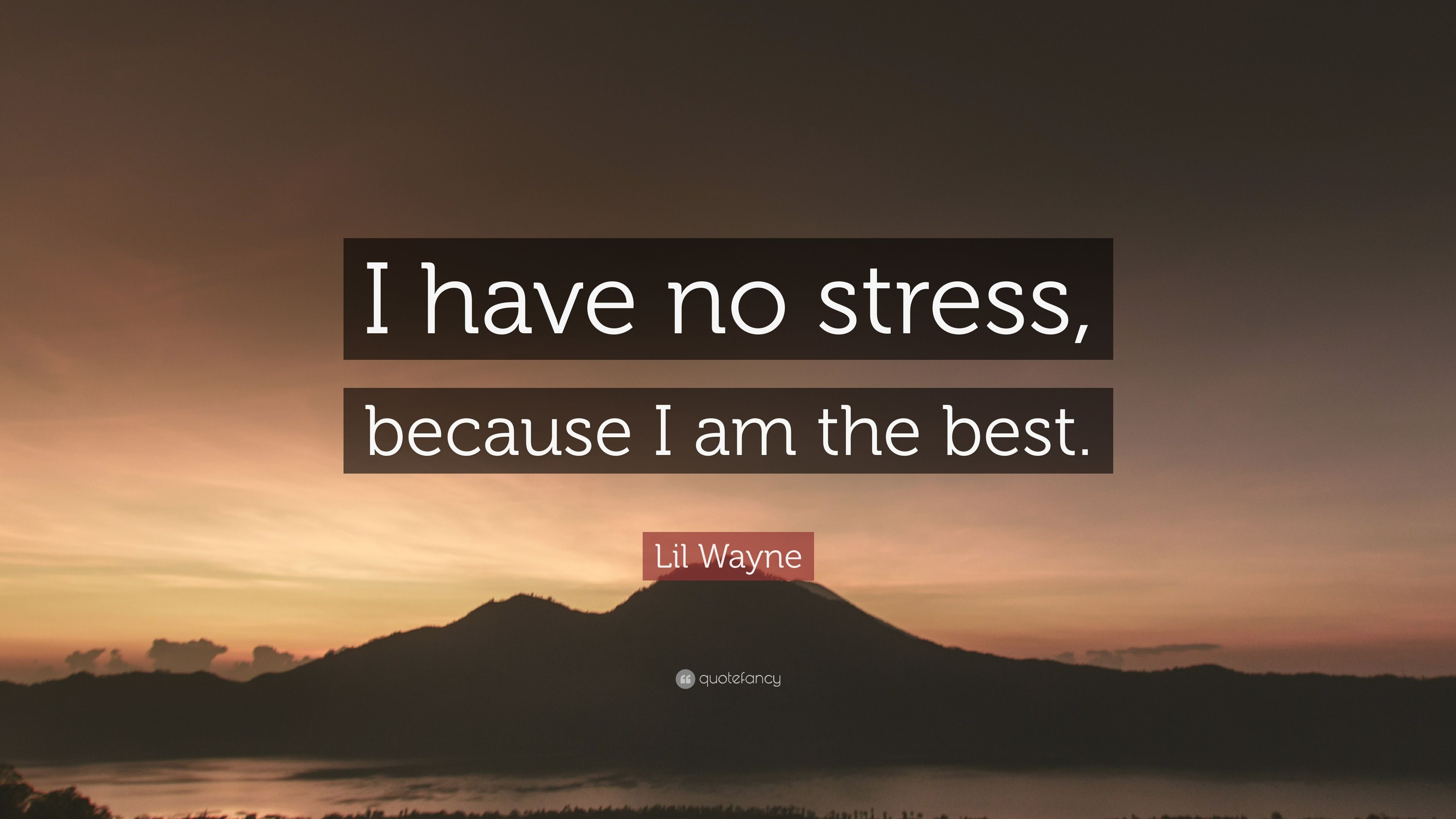 "Lil Wayne Quote: ""I Have No Stress, Because I Am The Best"