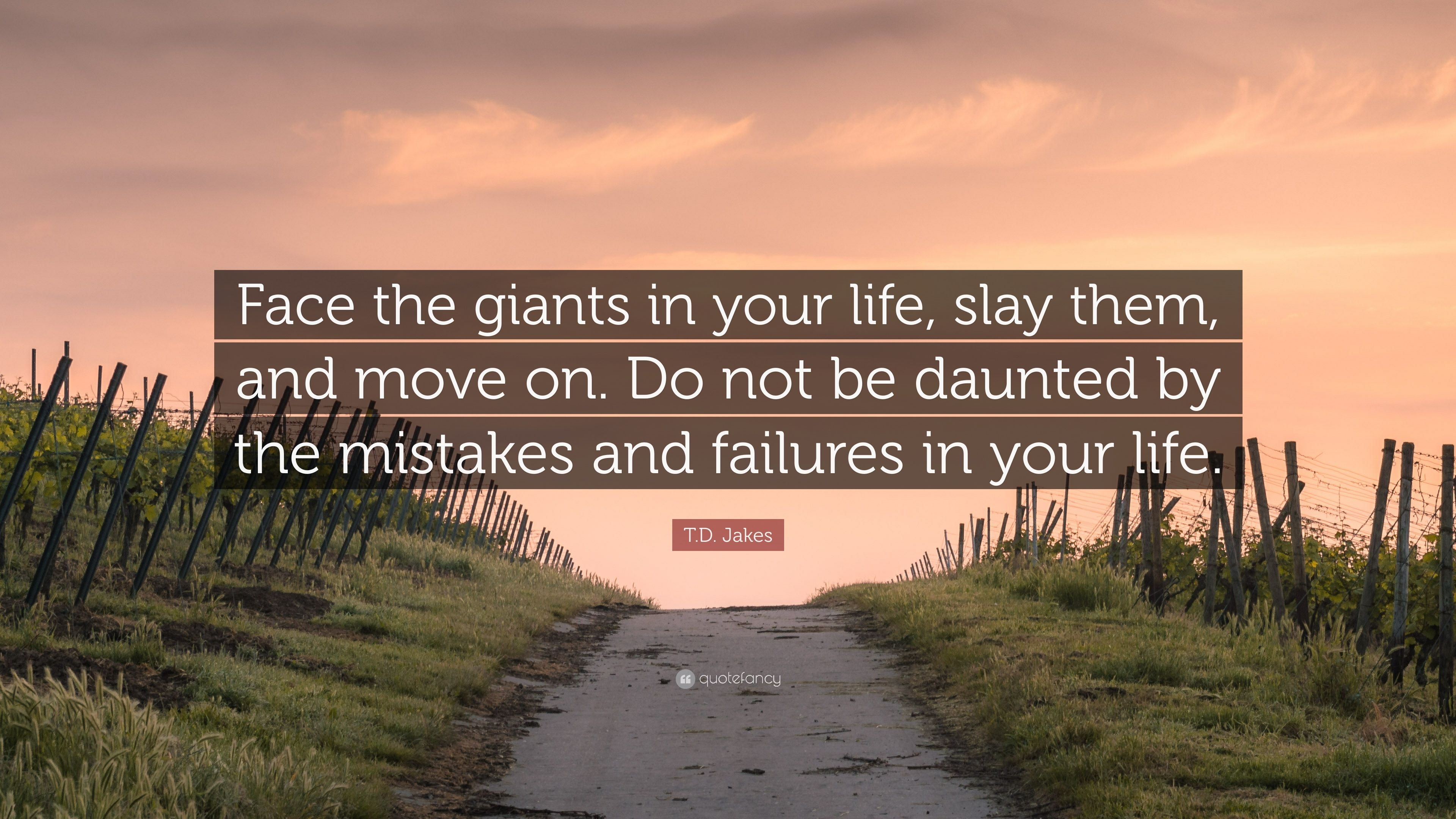 T.D. Jakes Quote: U201cFace The Giants In Your Life, Slay Them, And