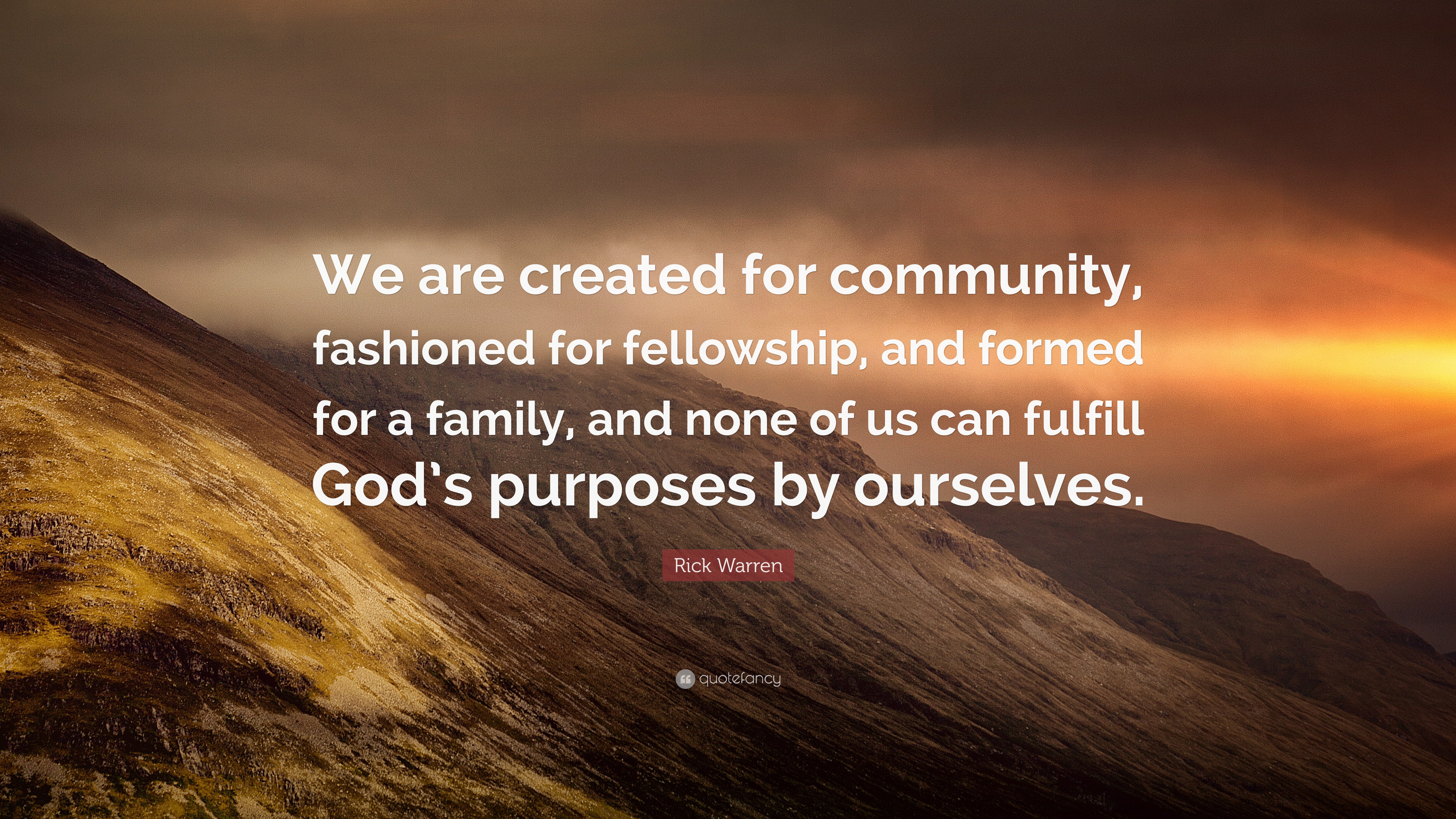 """Rick Warren Quote: """"We Are Created For Community"""