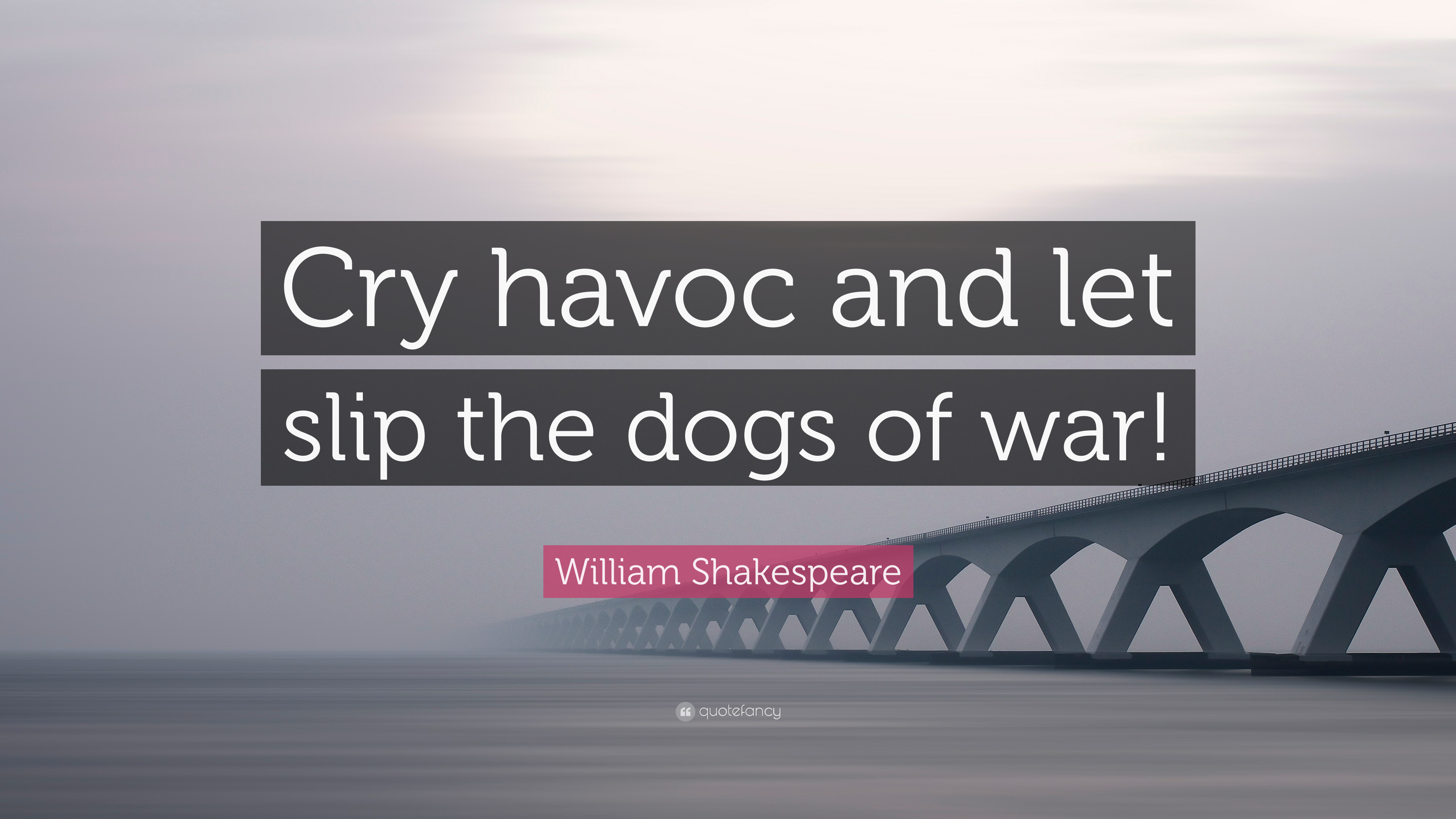 "And Let Slip The Dogs Of War william shakespeare quote: ""cry havoc and let slip the dogs"