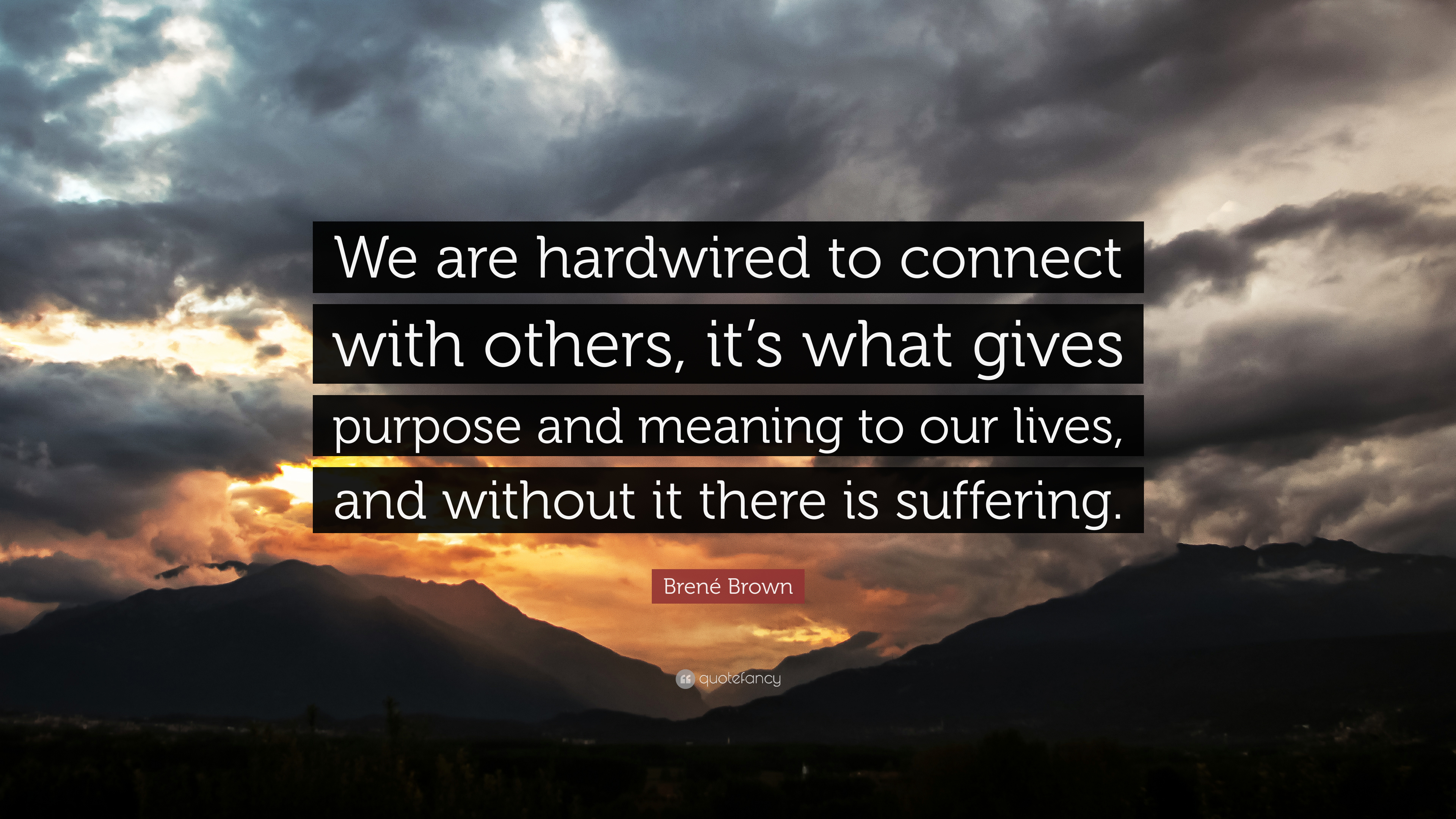 "Brené Brown Quote: ""We are hardwired to connect with others, it's what  gives purpose and meaning to our lives, and without it there is suffe..."""
