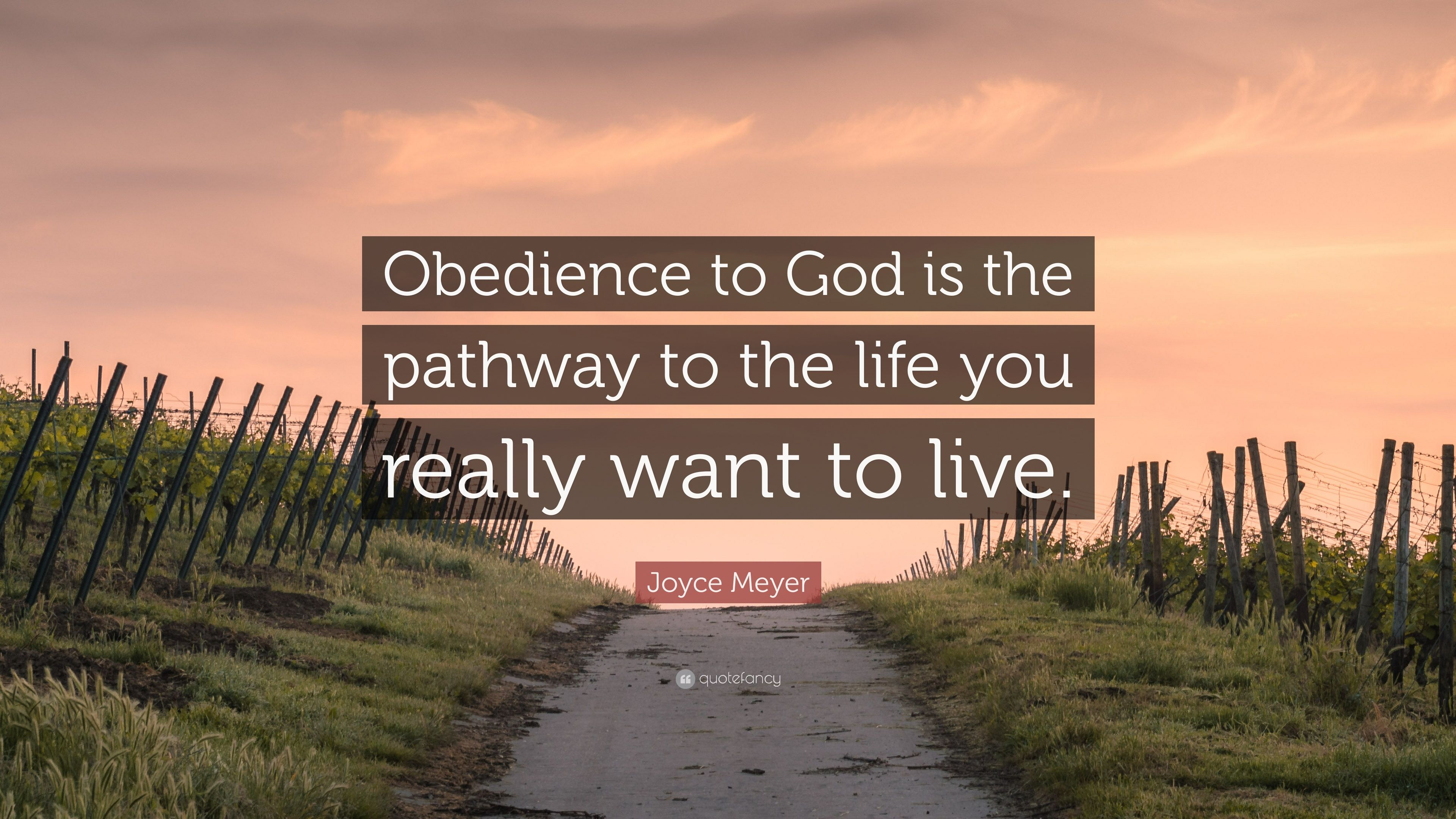 Joyce Meyer Quote Obedience To God Is The Pathway Life You Really