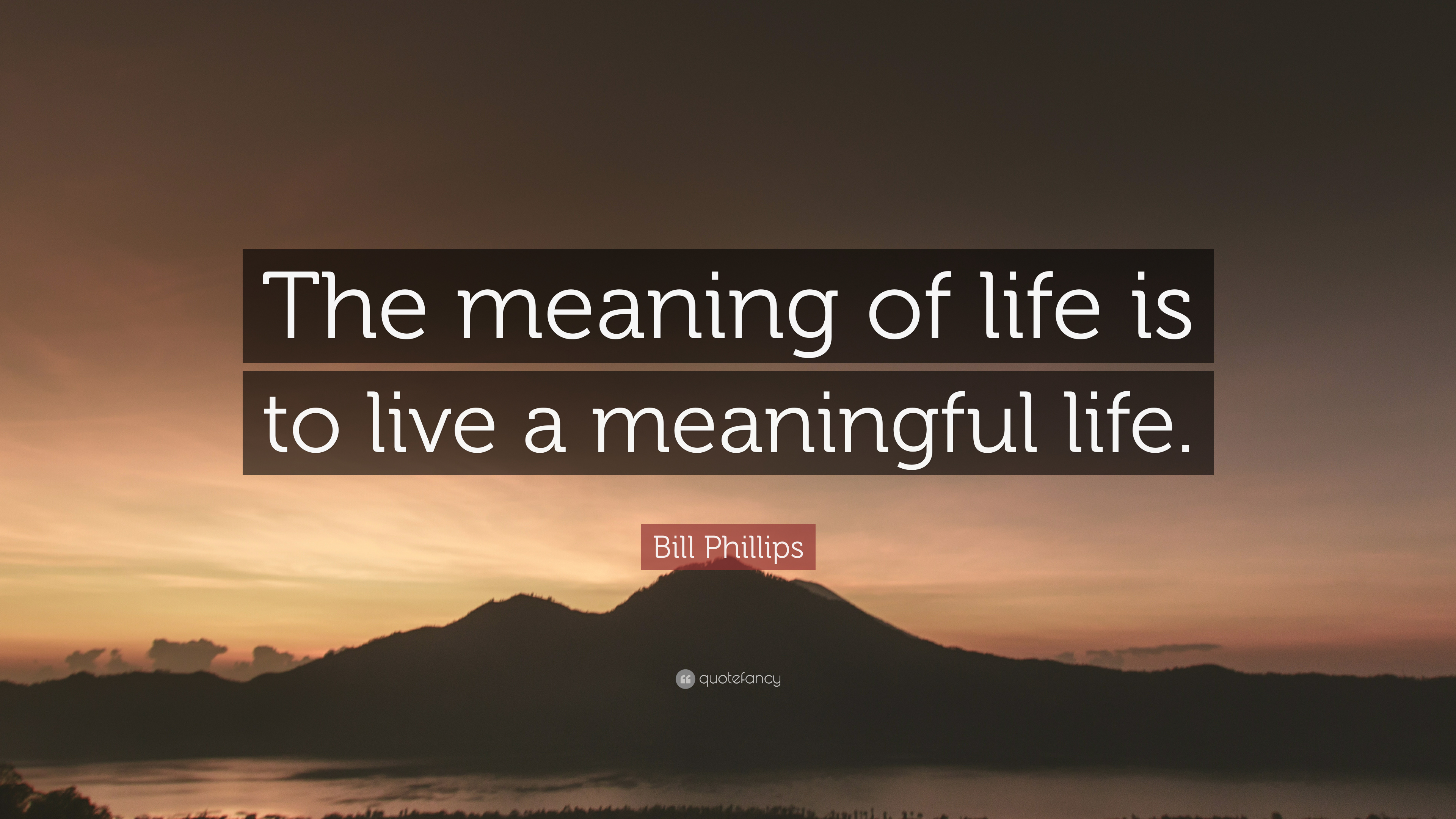 Bill Phillips Quote The Meaning Of Life Is To Live A Meaningful