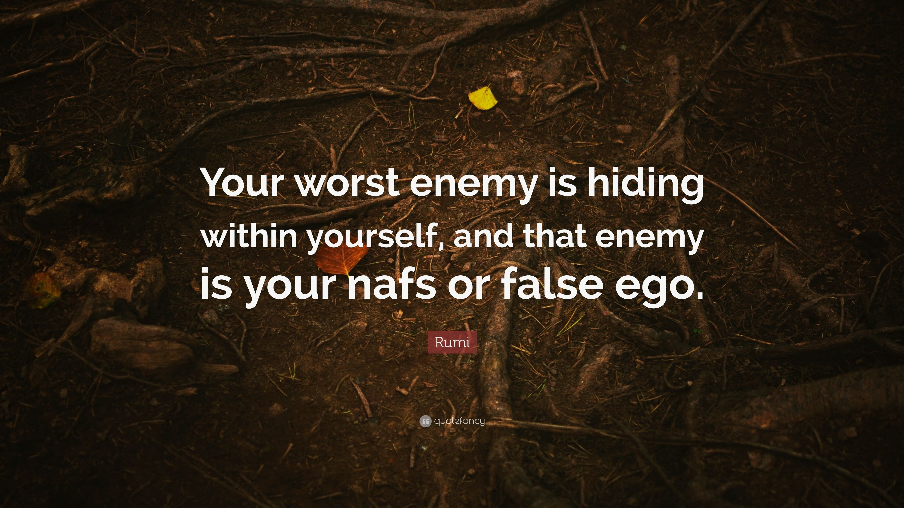 Rumi Quote Your Worst Enemy Is Hiding Within Yourself And That