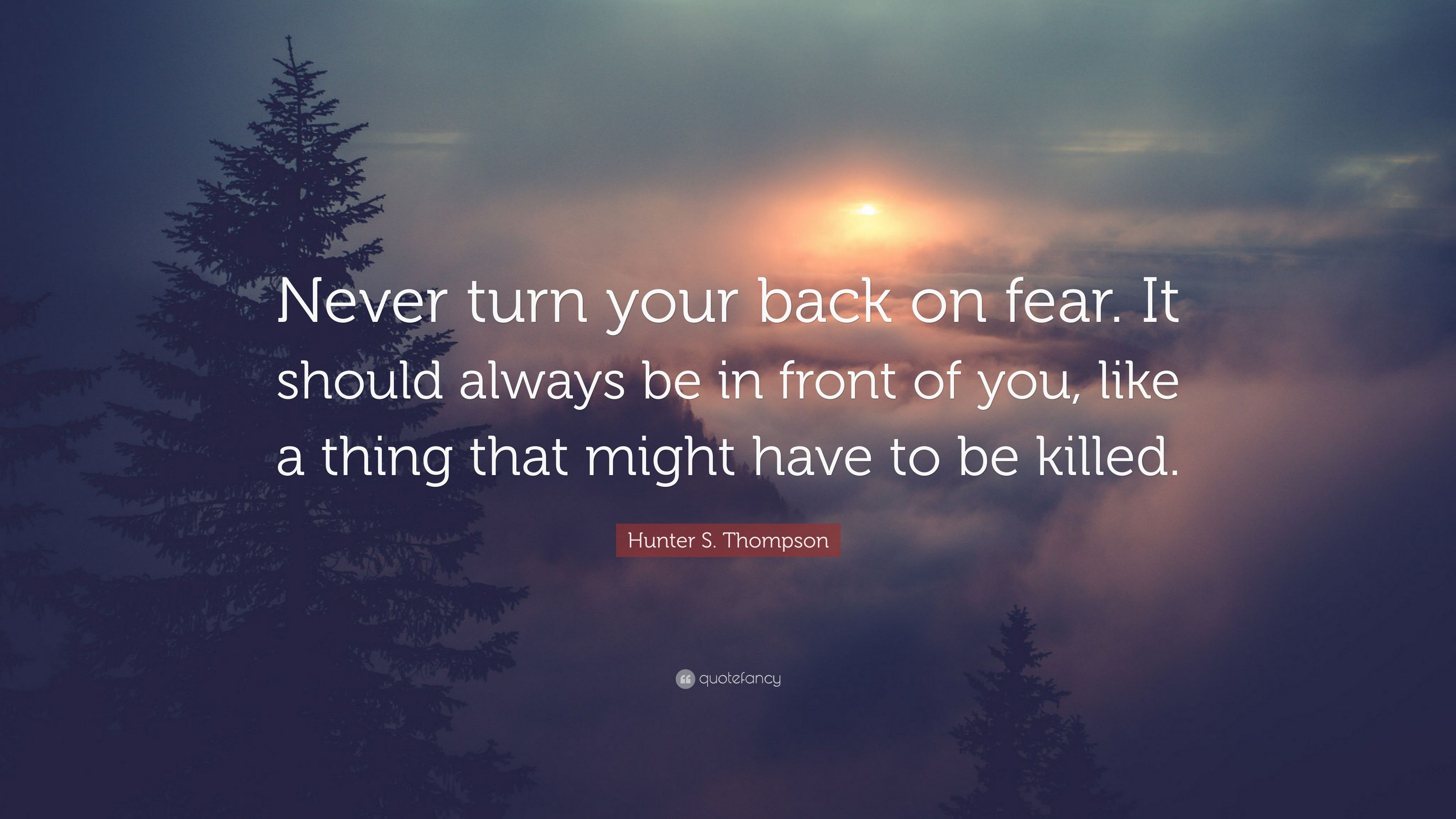 """Hunter S. Thompson Quote: """"Never Turn Your Back On Fear"""