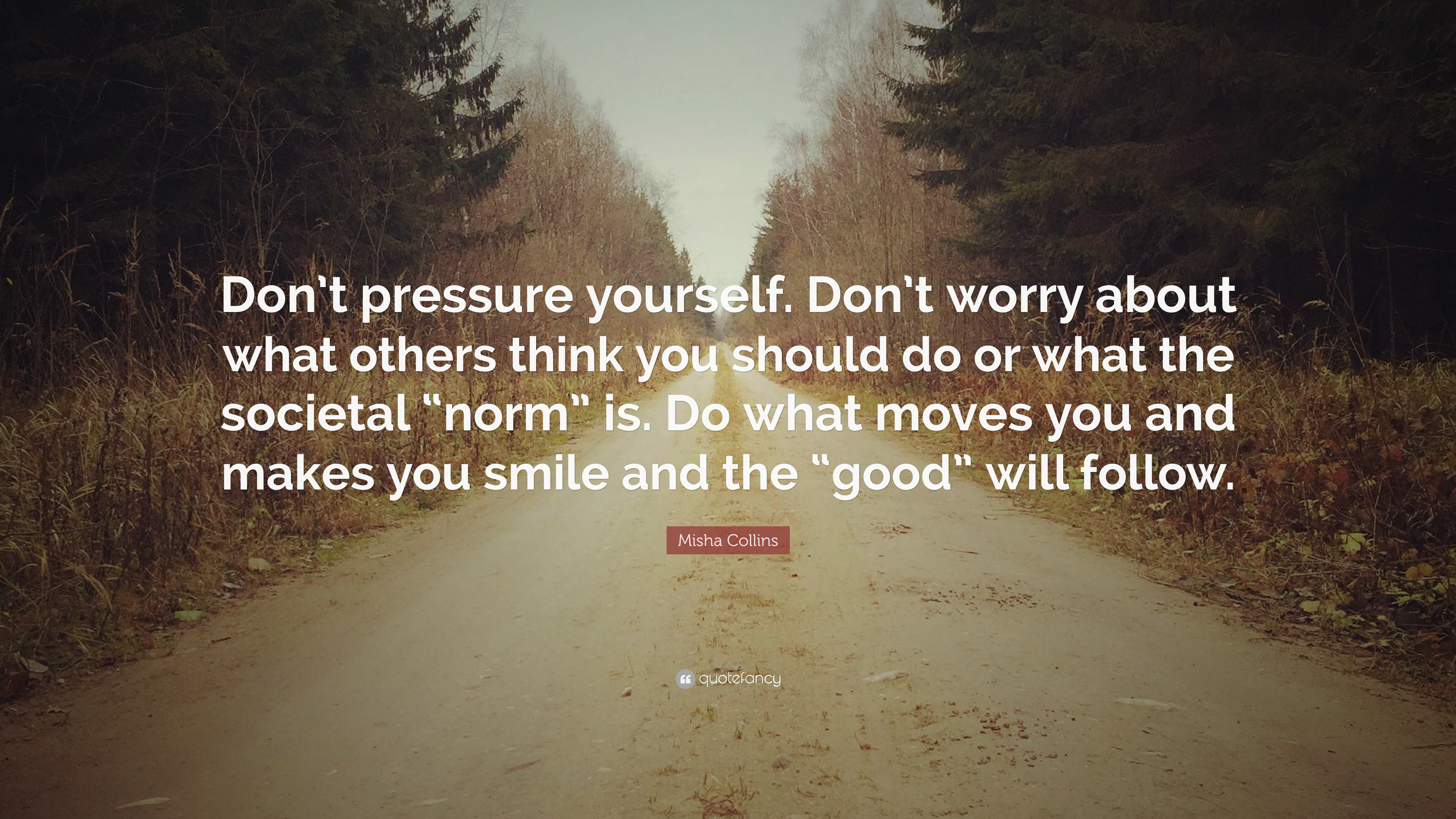 """Misha Collins Quote: """"Don't Pressure Yourself. Don't Worry"""