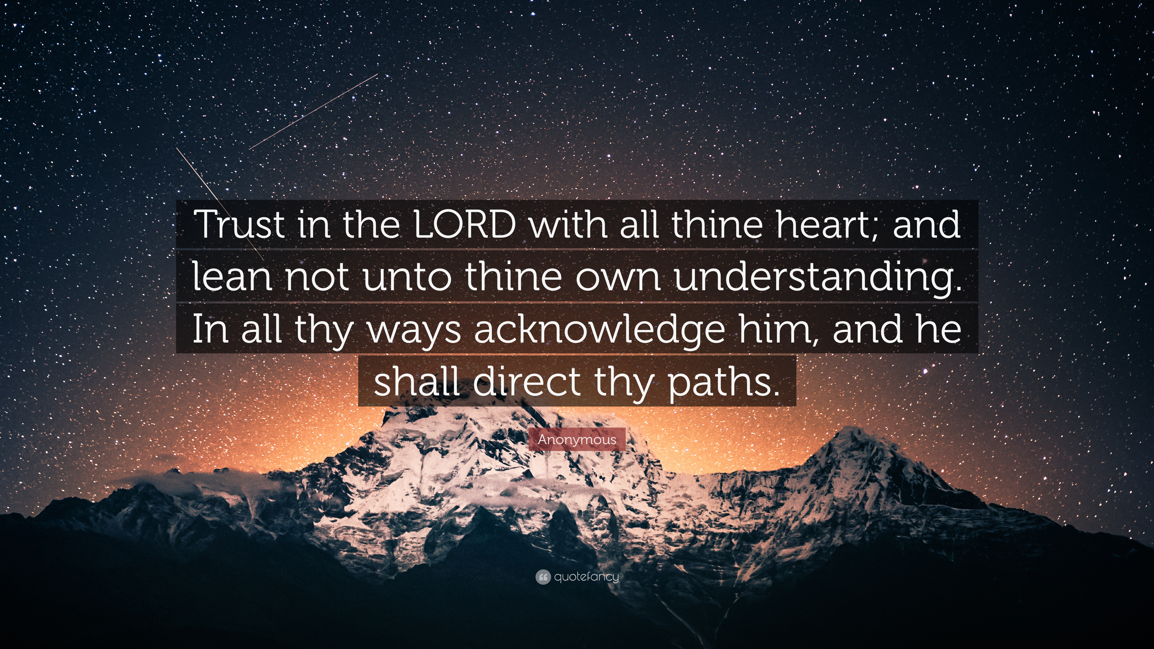 Anonymous Quote Trust In The Lord With All Thine Heart And Lean
