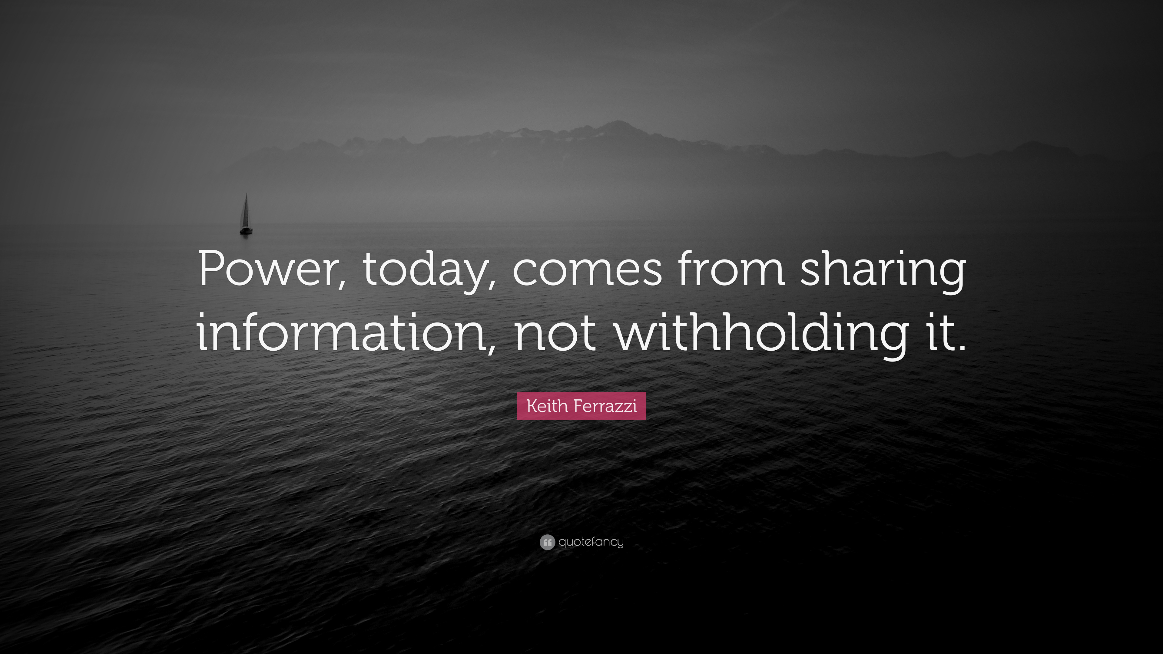 Keith Ferrazzi Quote Power Today Comes From Sharing Information