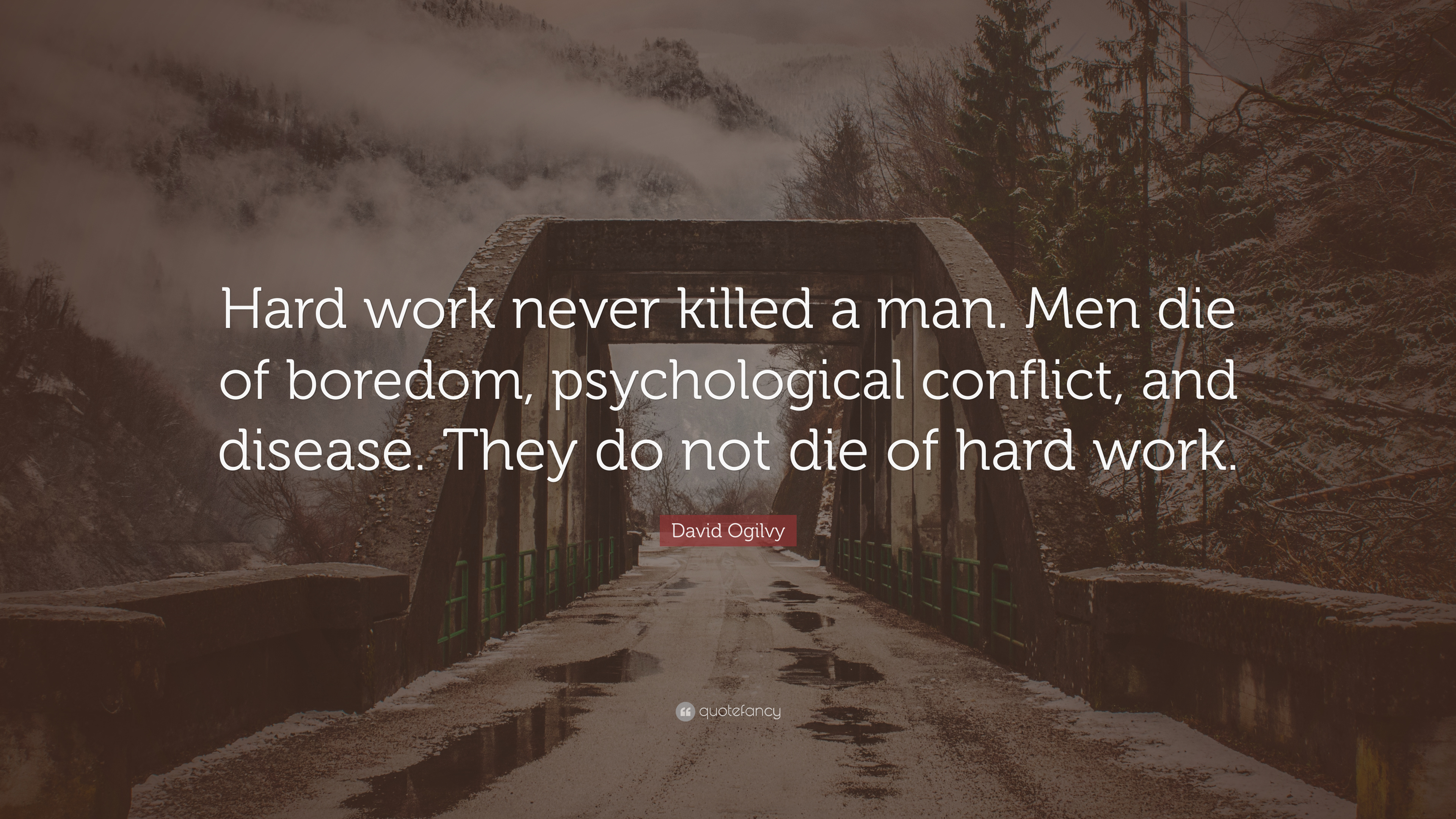 "David Ogilvy Quote: ""Hard work never killed a man. Men die ..."