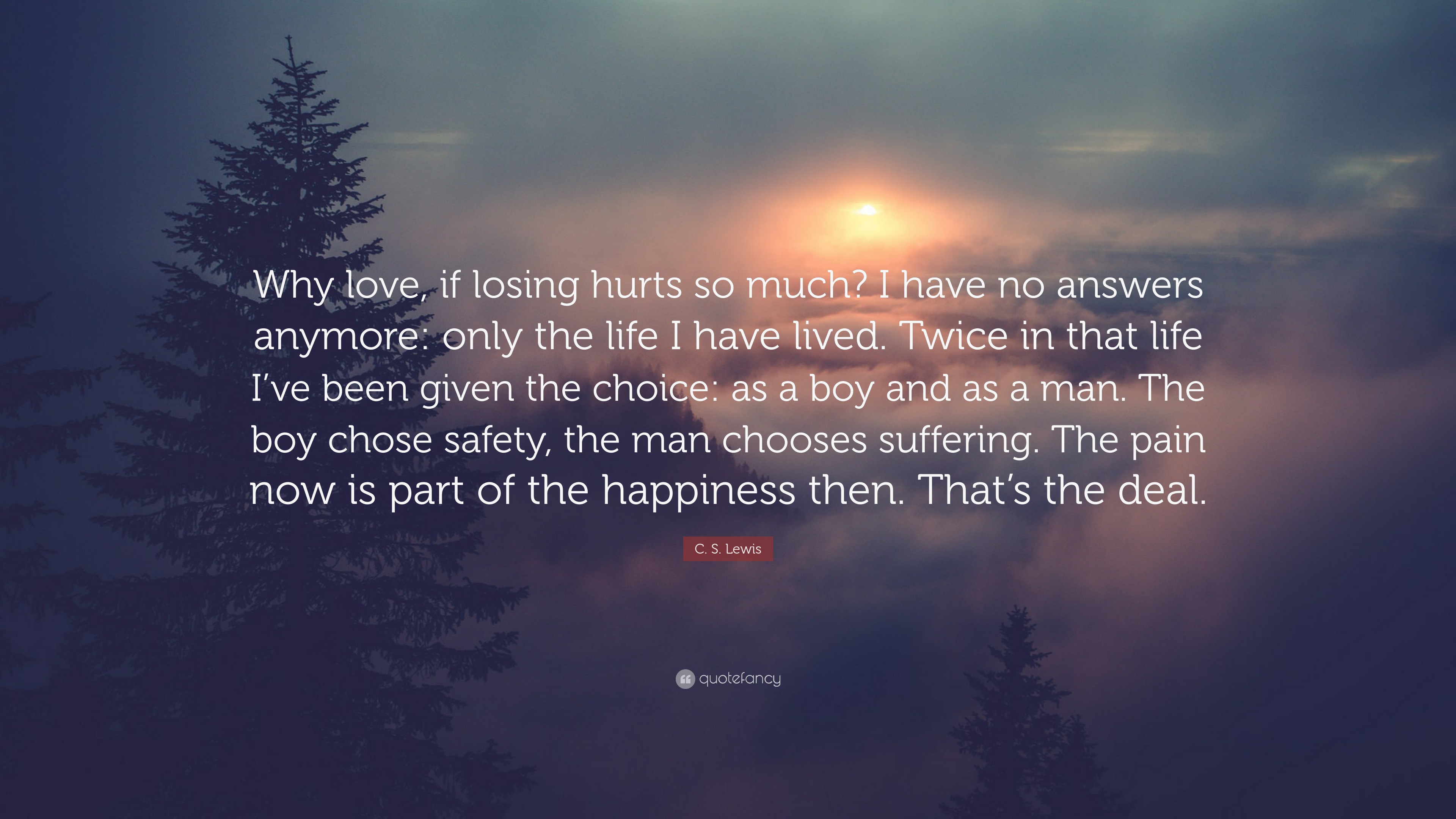"""Cs Lewis Quotes On Life Cslewis Quote """"Why Love If Losing Hurts So Much I Have No"""