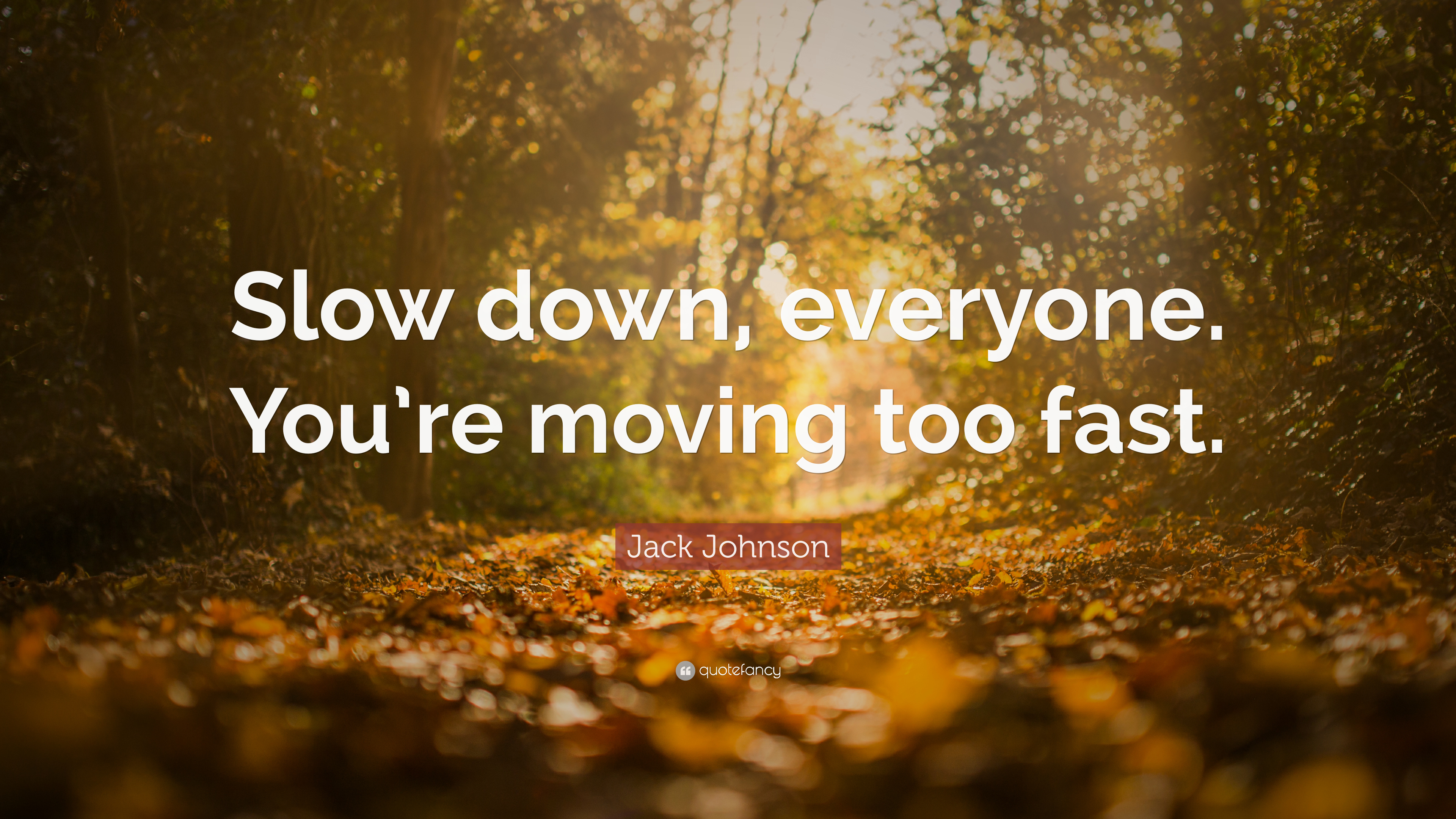 Jack Johnson Quote: Slow down, everyone. Youre moving