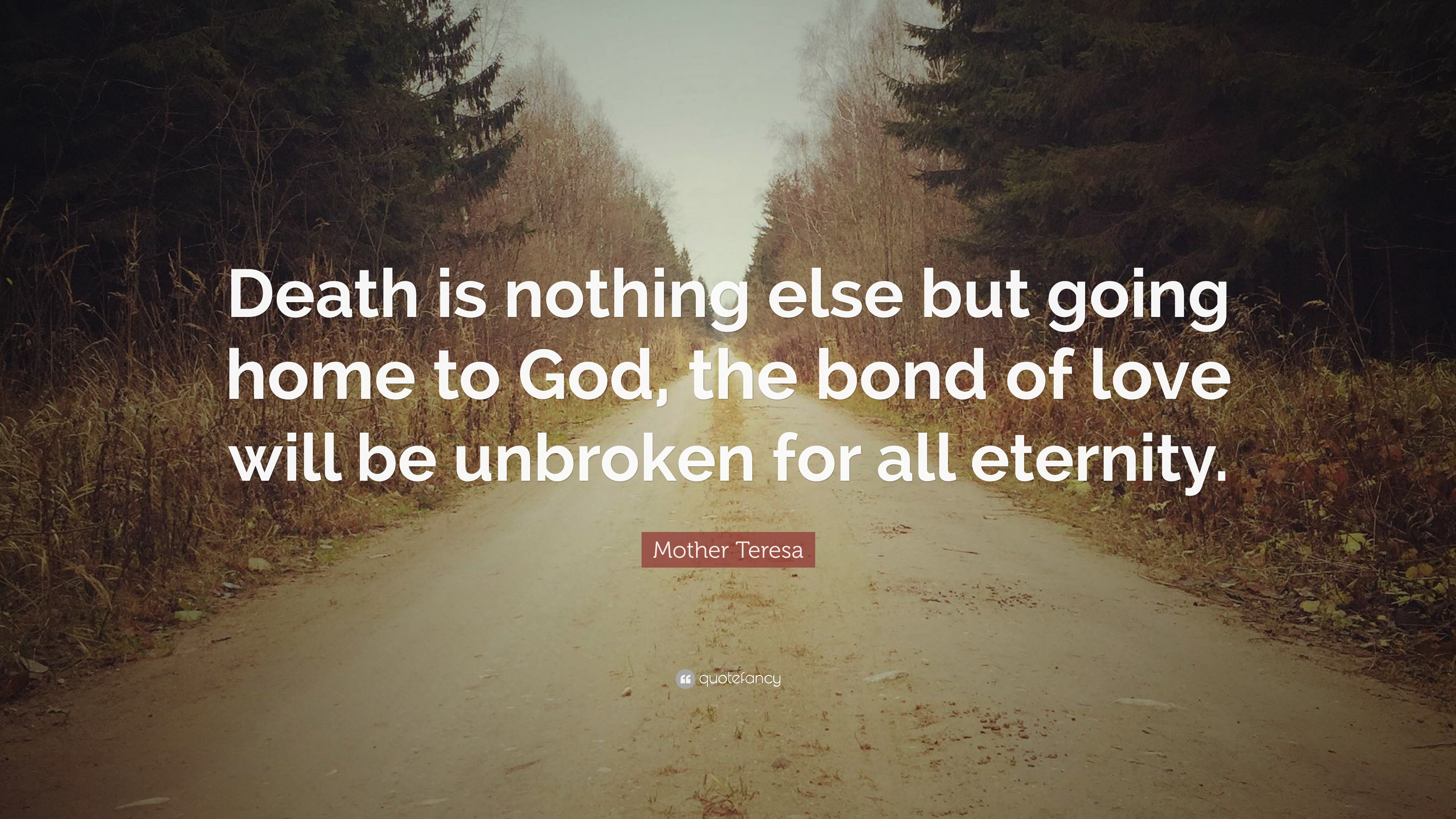 Mother Teresa Quote Death Is Nothing Else But Going Home To God