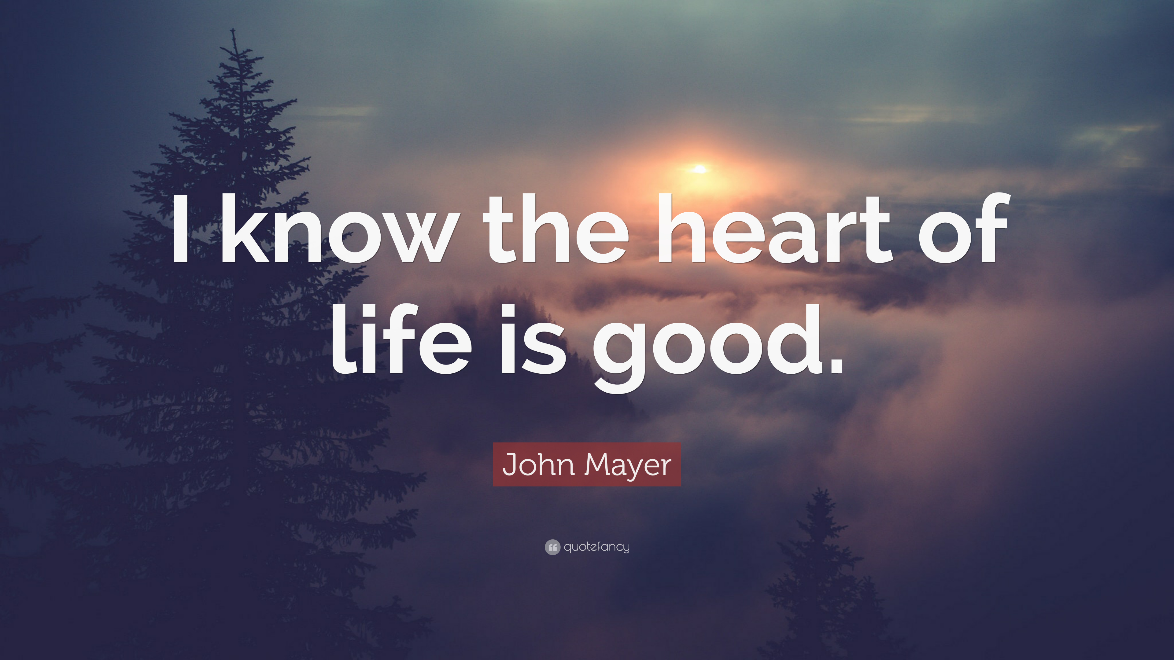 """John Mayer Quote: """"I know the heart of life is good."""" (9 ..."""