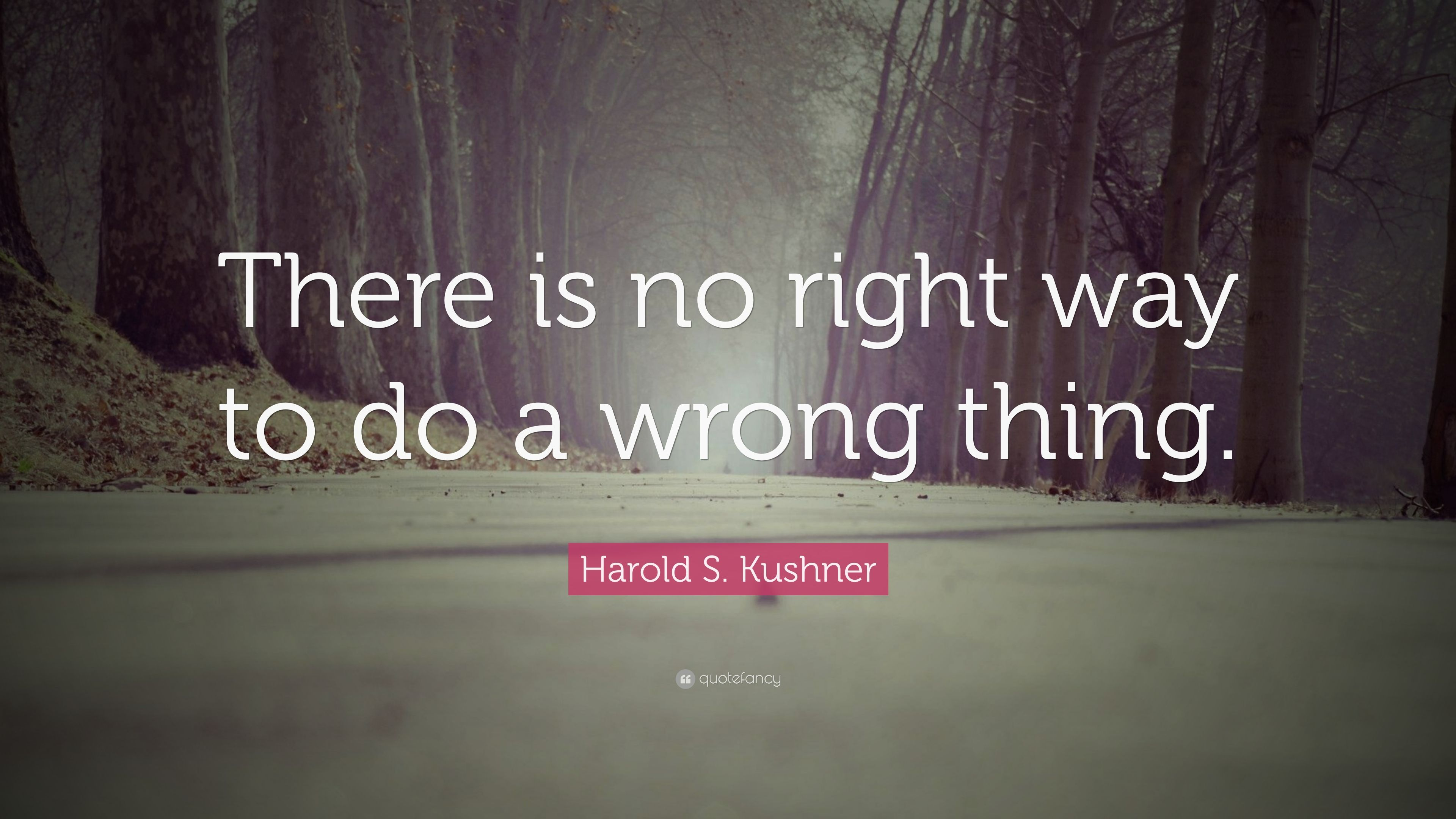 there is no right way to do a wrong thing Harold s kushner — 'there is no right way to do a wrong thing.