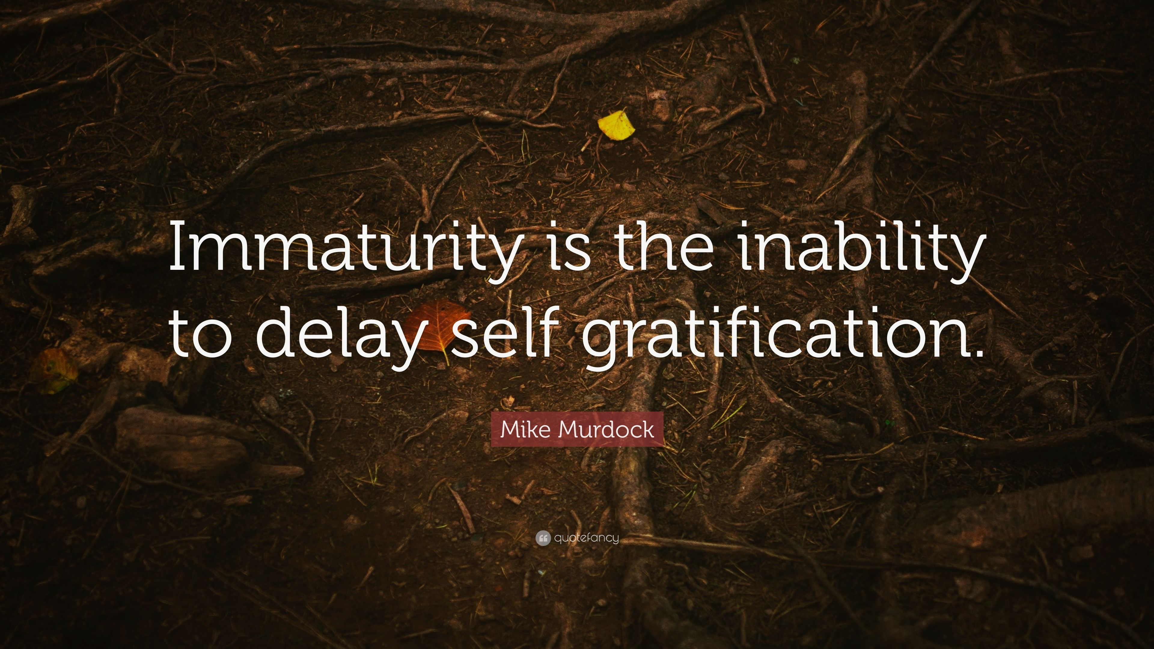 "Mike Murdock Quote: ""Immaturity is the inability to delay ..."
