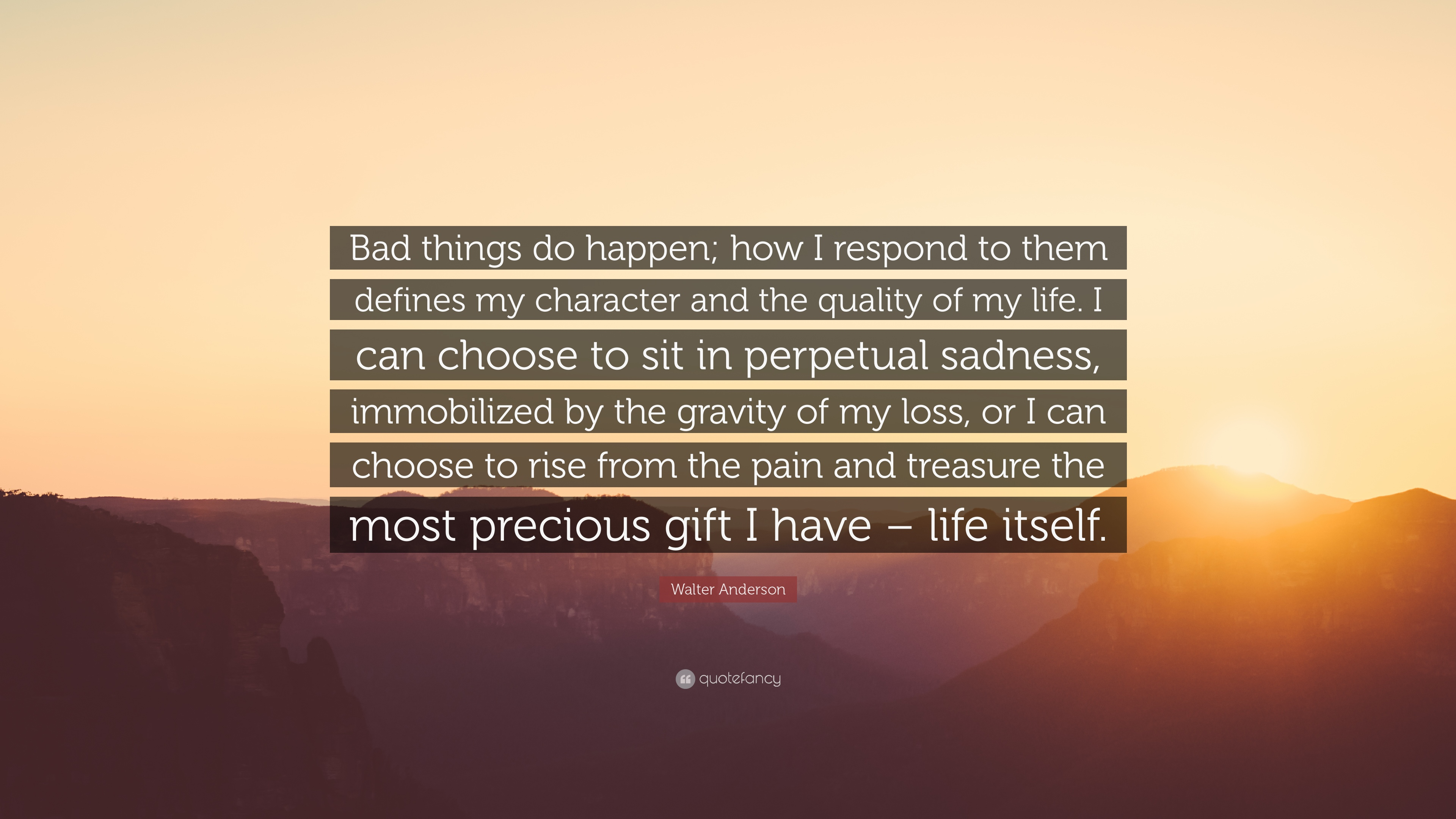 "Image result for ""Bad things do happen; how I respond to them defines my character and the quality of my life. I can choose to sit in perpetual sadness, immobilized by the gravity of my loss, or I can choose to rise from the pain and treasure the most precious gift I have - life itself."" ― Walter Anderson"