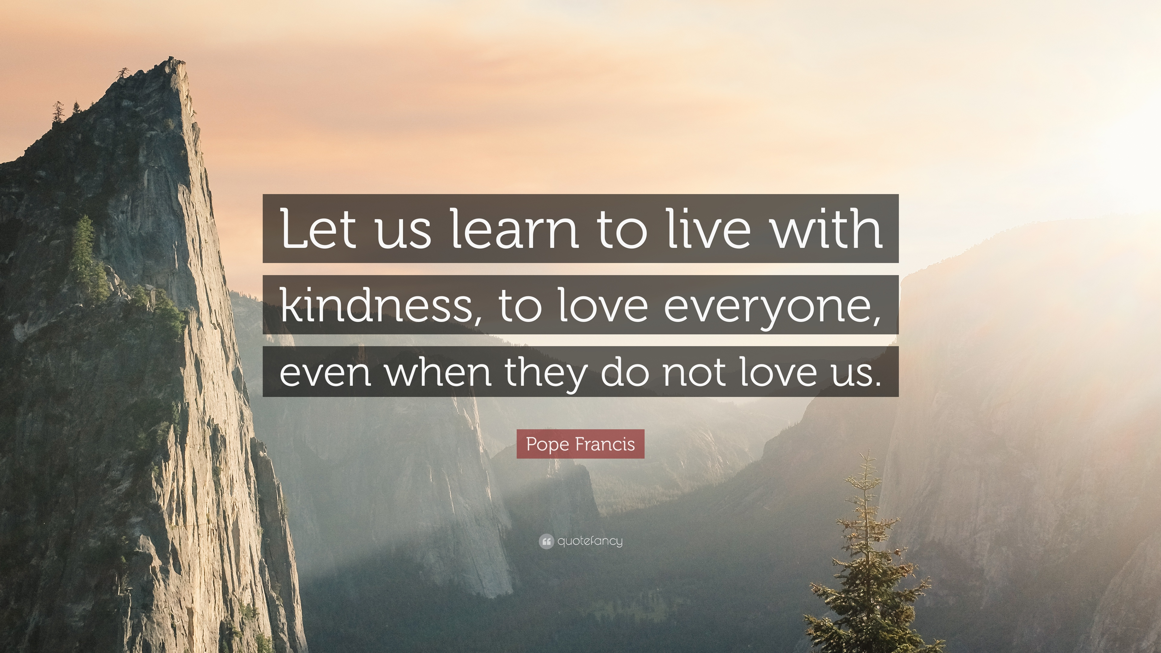 pope francis quote let us learn to live with kindness. Black Bedroom Furniture Sets. Home Design Ideas