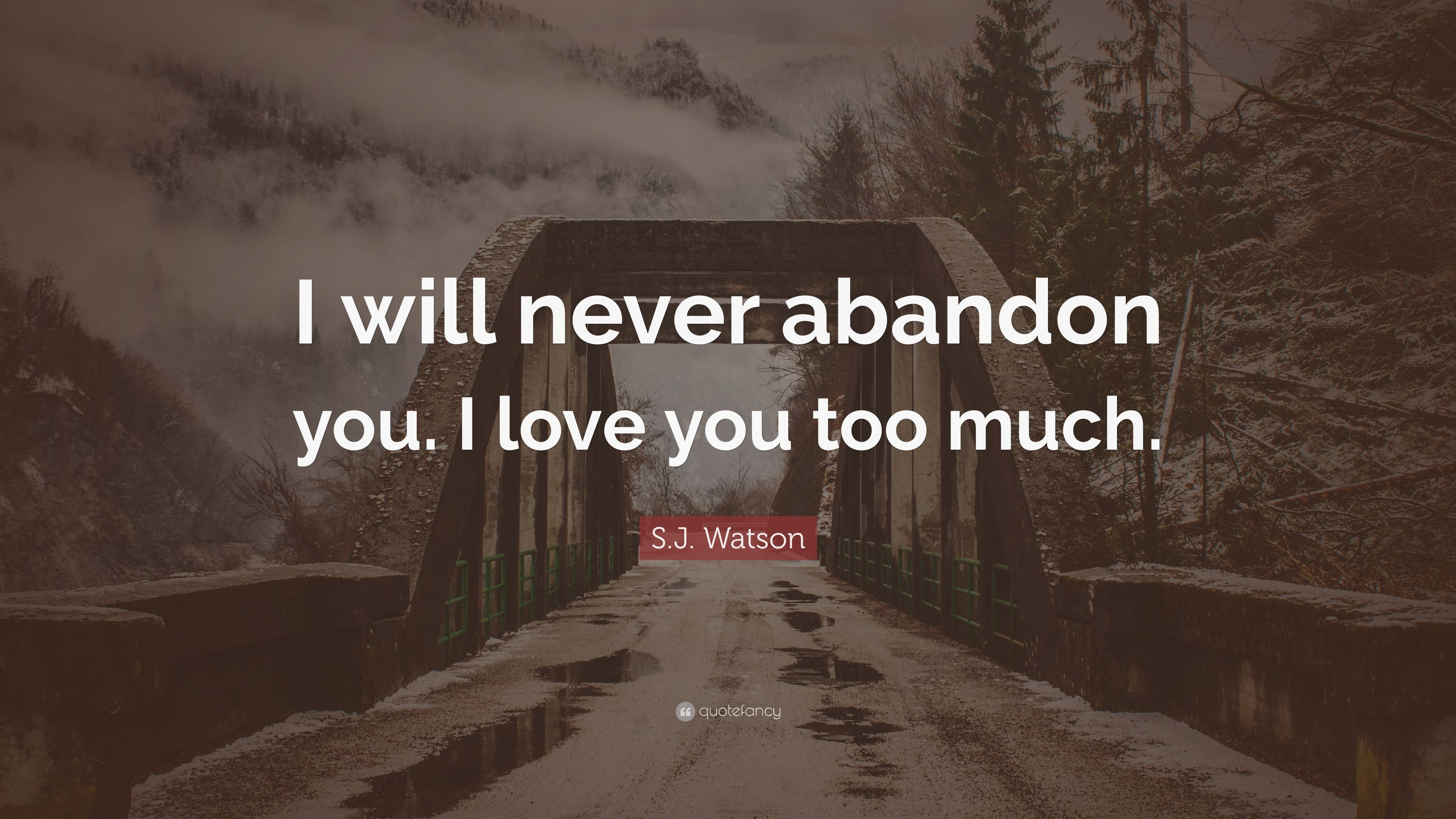 Sj Watson Quote I Will Never Abandon You I Love You Too Much