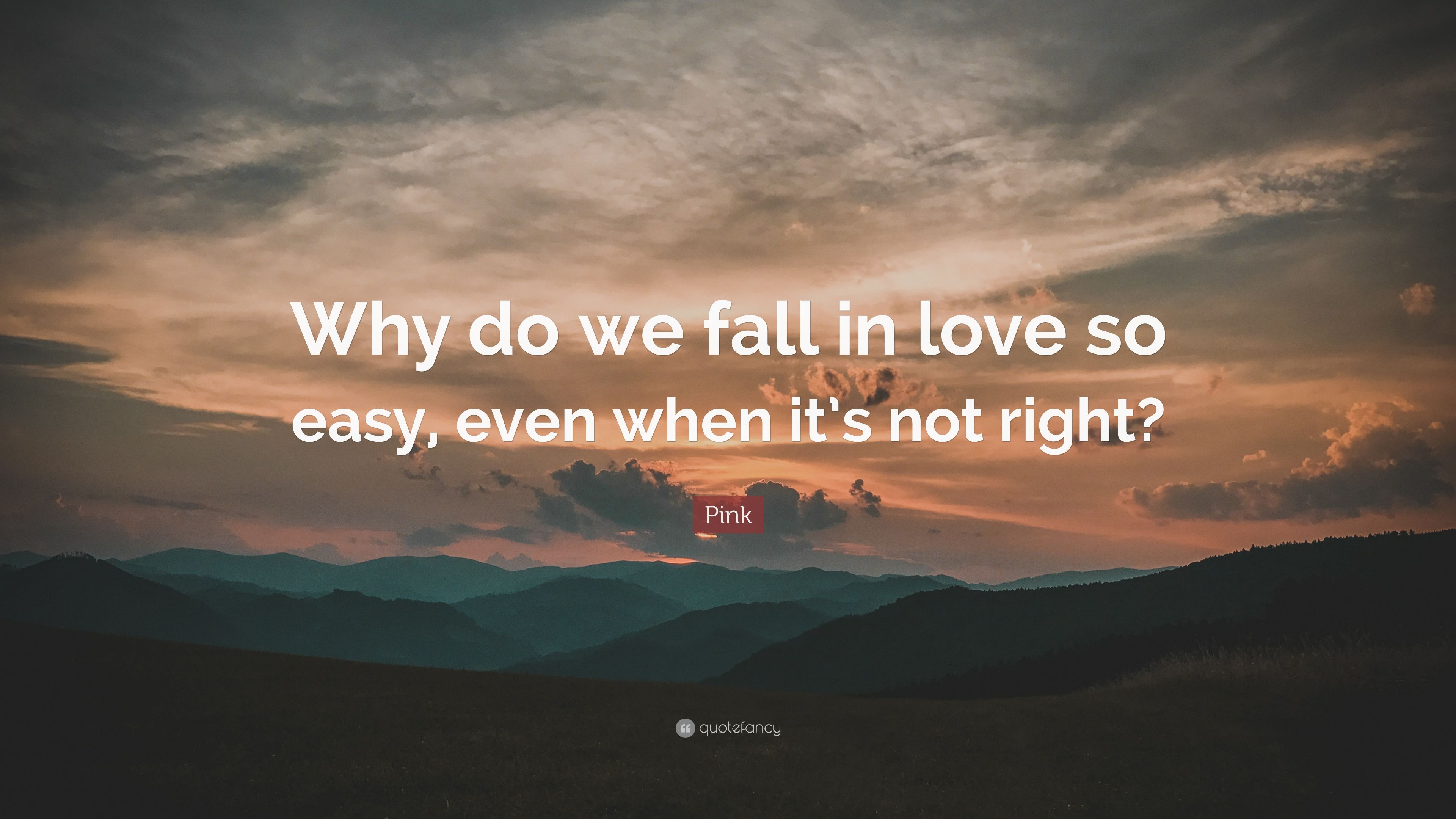 Pink Quote: Why do we fall in love so easy, even when it