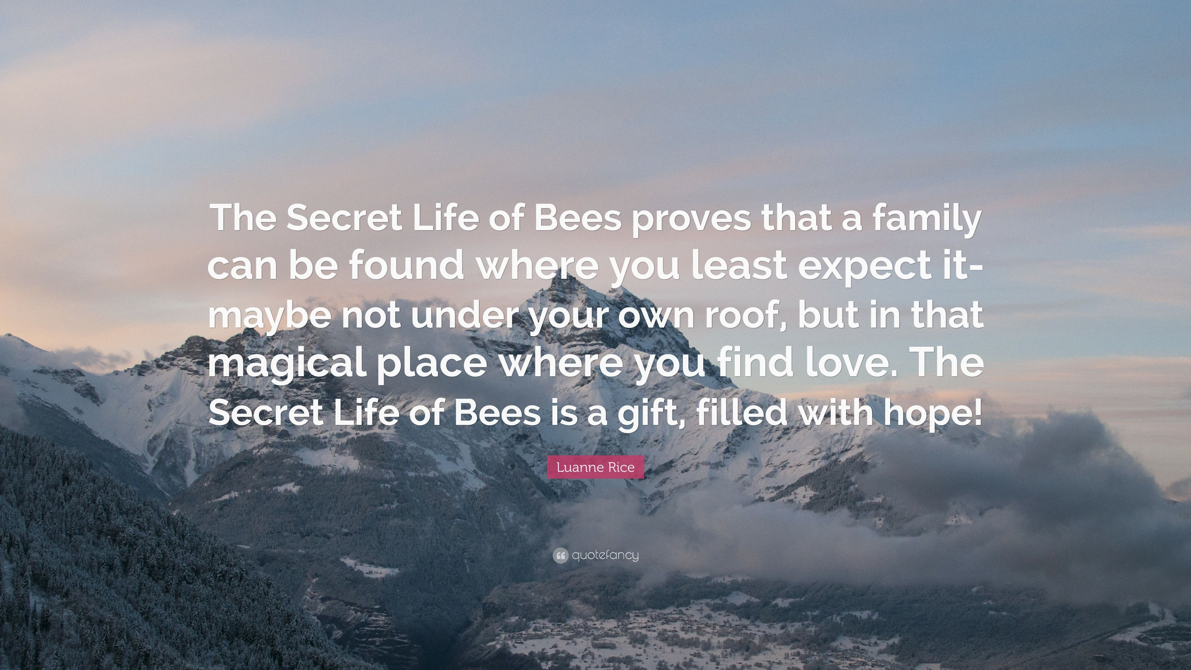 "Quotes In The Secret Life Of Bees Luanne Rice Quote ""The Secret Life Of Bees Proves That A Family"