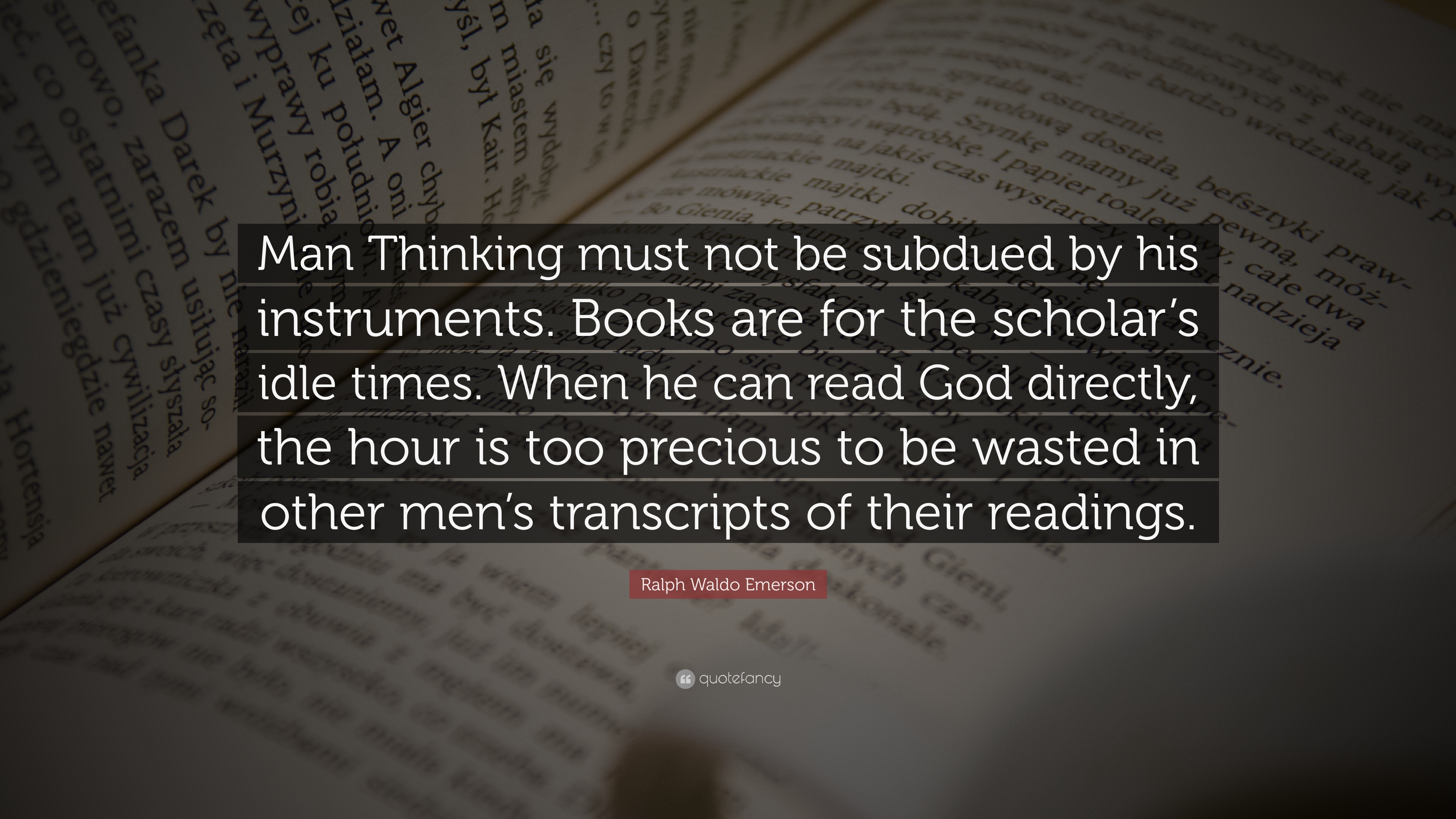 what does emerson mean by man thinking